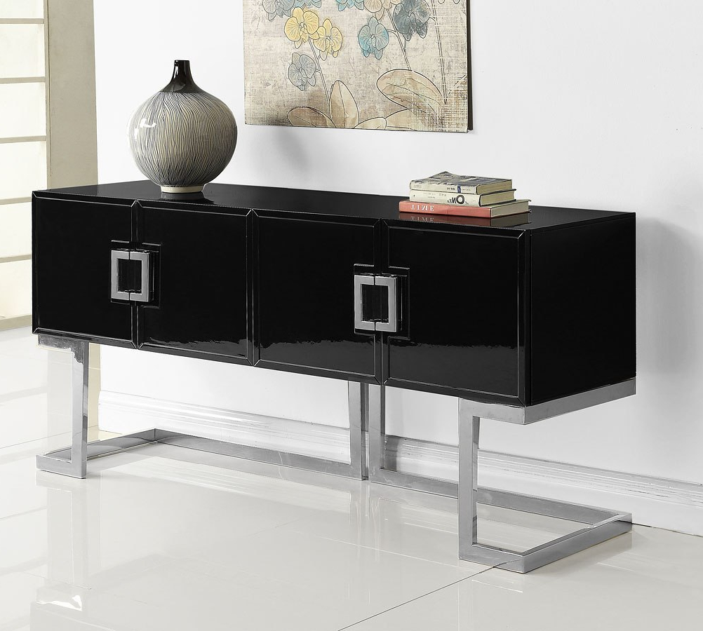 Beth Sideboard/ Buffet (black/ Chrome) For Thatcher Sideboards (View 16 of 20)