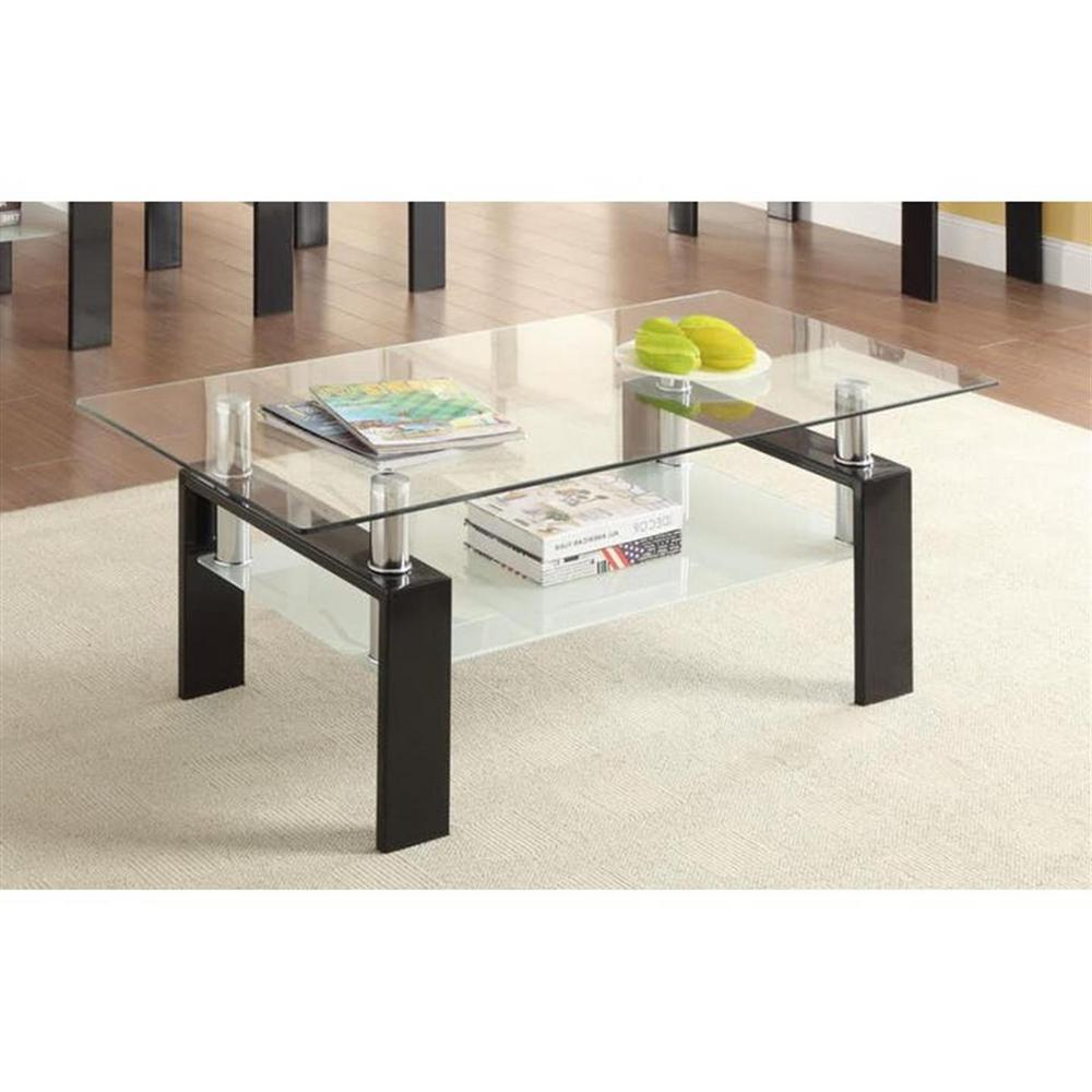 Black And Clear Tempered Glass Coffee Table With Shelf For Most Popular Coaster Company Silver Glass Coffee Tables (View 6 of 20)