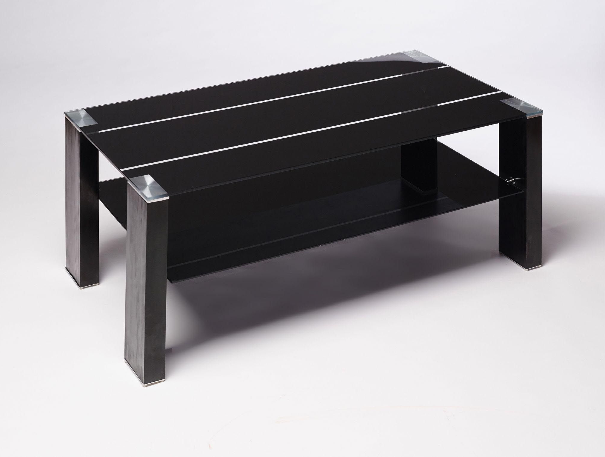Black Glass Coffee Table Contemporary Modern Retro (View 5 of 20)