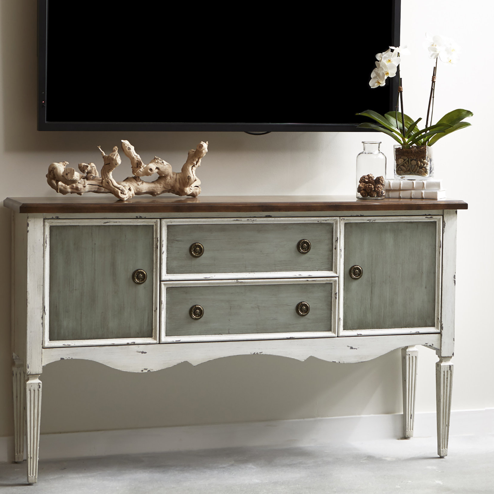 Bontang 3 Tone Tv Stand Inside Baleine 3 Drawer Sideboards (View 12 of 20)
