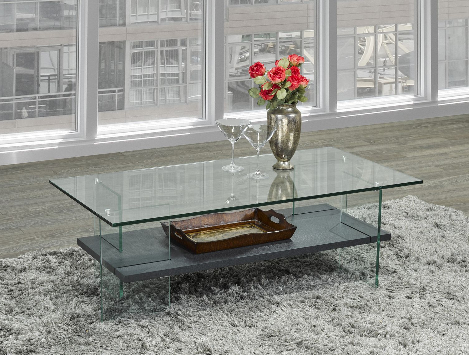 Brassex Soho Coffee Table With Tempered Glass, Grey Pertaining To Fashionable Glossy White Hollow Core Tempered Glass Cocktail Tables (View 15 of 20)