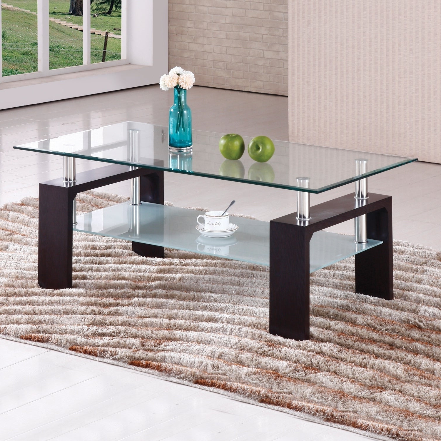 Brittaney Mahogany Glass Chrome Coffee Table For Most Current Finbar Modern Rectangle Glass Coffee Tables (View 3 of 20)