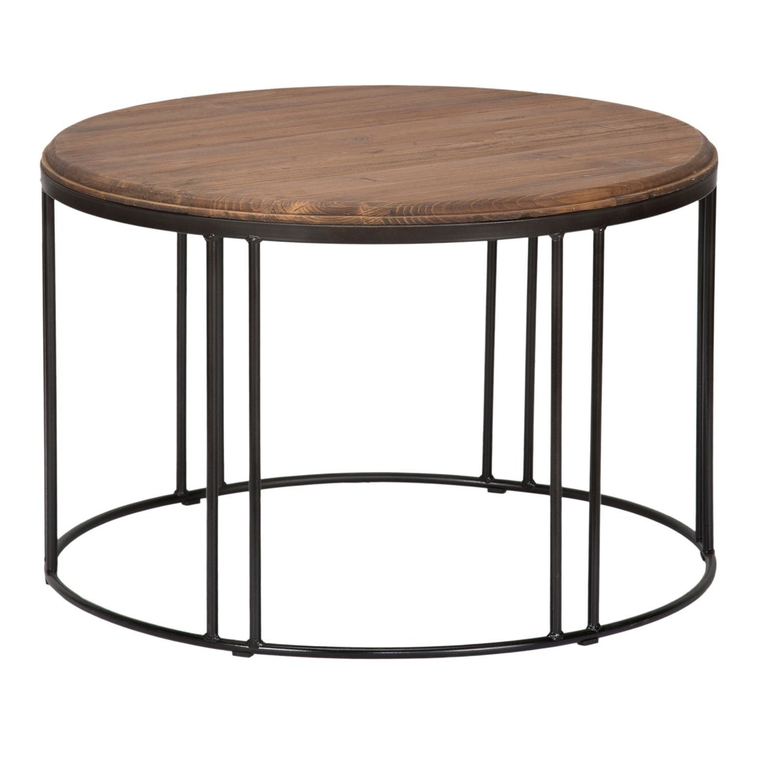 Burnham Reclaimed Wood And Iron Round Coffee Tablekosas Home With Regard To Most Up To Date Burnham Reclaimed Wood And Iron Round Coffee Tables (View 4 of 20)