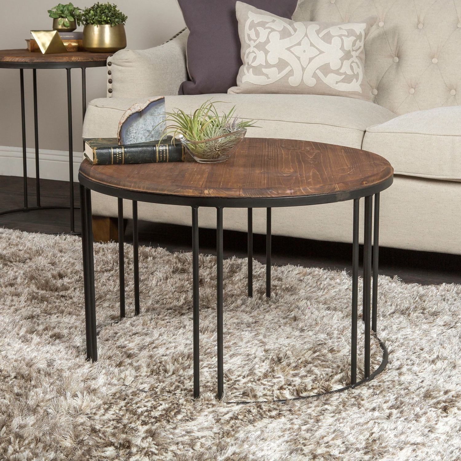 Burnham Reclaimed Wood And Iron Round Coffee Tablekosas With Regard To Popular Carbon Loft Heimlich Metal Glass Rectangle Coffee Tables (View 1 of 20)