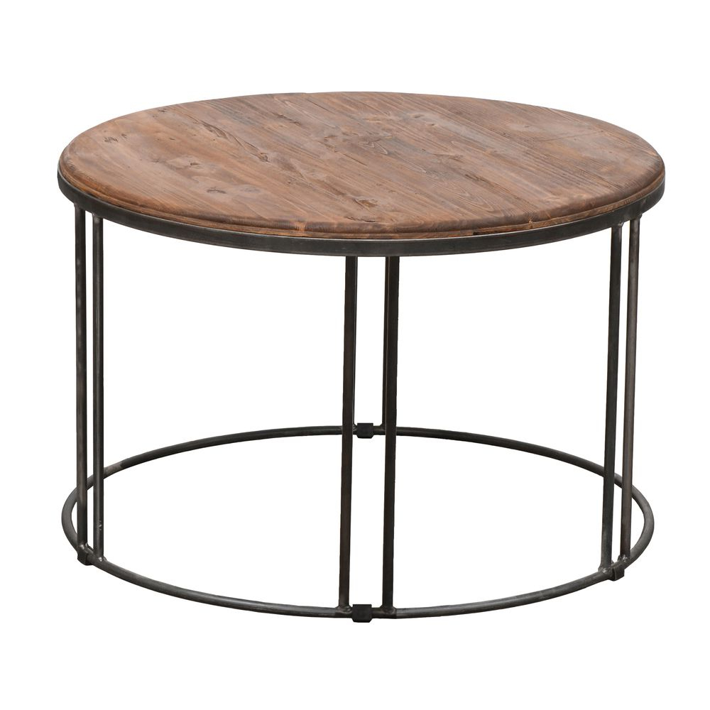 Burnham Reclaimed Wood/ Iron Coffee Table – Overstock For 2020 Burnham Reclaimed Wood And Iron Round Coffee Tables (View 9 of 20)