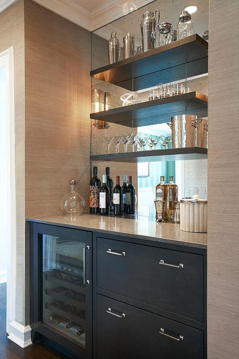 Butler Pantry With Shelves On A Mirrored Backsplash Pertaining To Most Up To Date Lotus Kitchen Pantry (View 2 of 20)