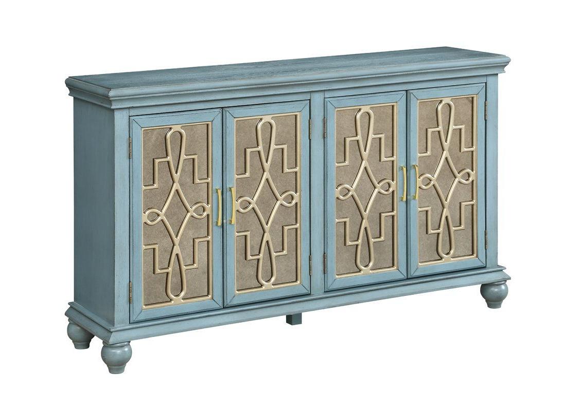 Caitlin Credenza | Bars | Credenza, Doors, Antique Mirror Glass With Regard To Kattie 4 Door Cabinets (View 4 of 20)