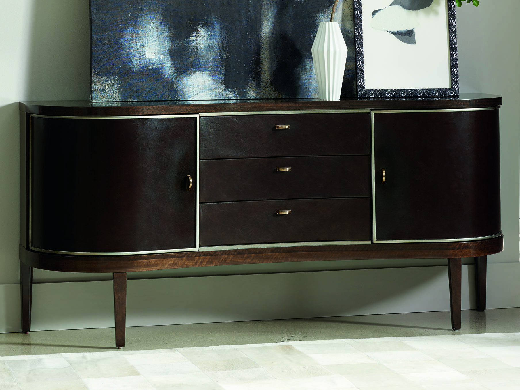 Caracole Modern Streamline Aged Bourbon With Smoked Brass 72''w X 19''d Rectangular Sideboard With Palisade Sideboards (View 18 of 20)