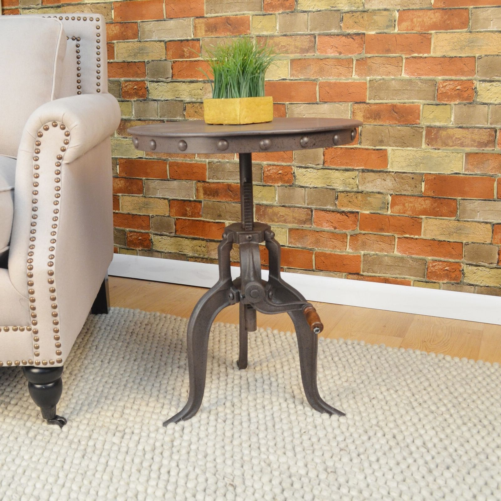 Carbon Loft Baird Cast Iron/metal Adjustable Crank Accent Table Sofa Coffee  Il Throughout Popular Carbon Loft Enjolras Wood Steel Coffee Tables (View 2 of 20)