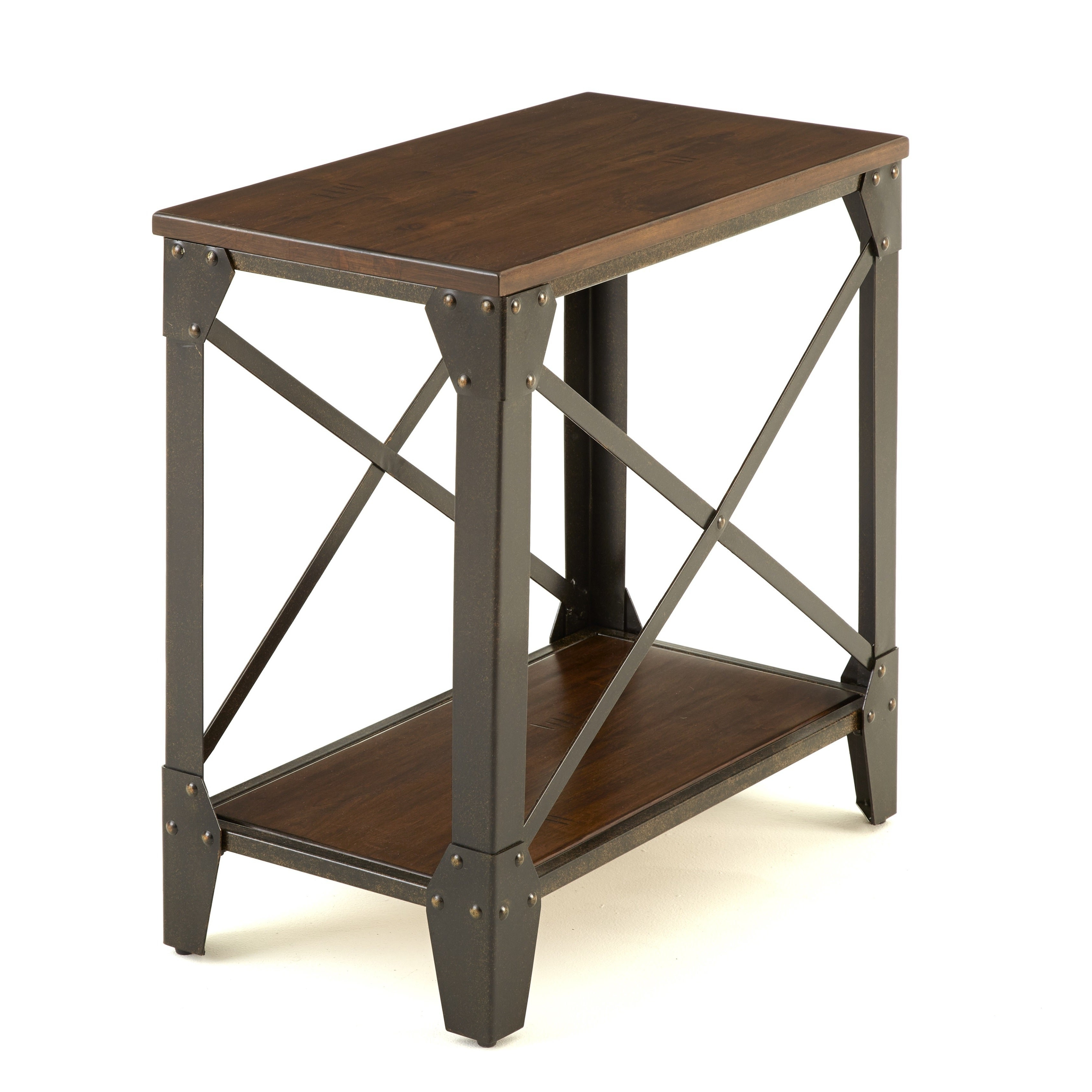 Carbon Loft Fischer Solid Wood And Iron Rustic Chairside Table Within Current Carbon Loft Fischer Brown Solid Birch And Iron Rustic Coffee Tables (View 4 of 20)