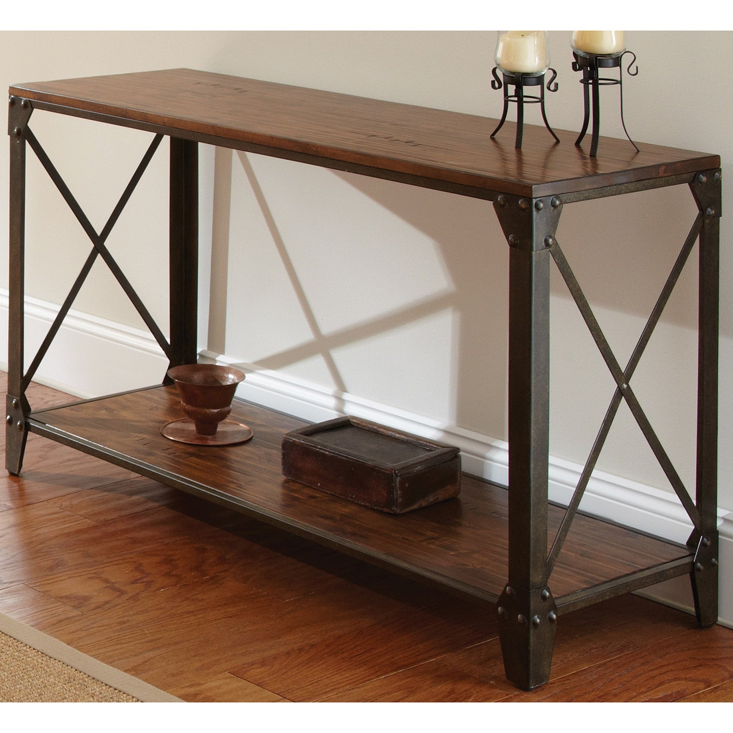 Carbon Loft Fischer Solid Wood And Iron Rustic Sofa Table Pertaining To Widely Used Carbon Loft Fischer Brown Solid Birch And Iron Rustic Coffee Tables (View 5 of 20)