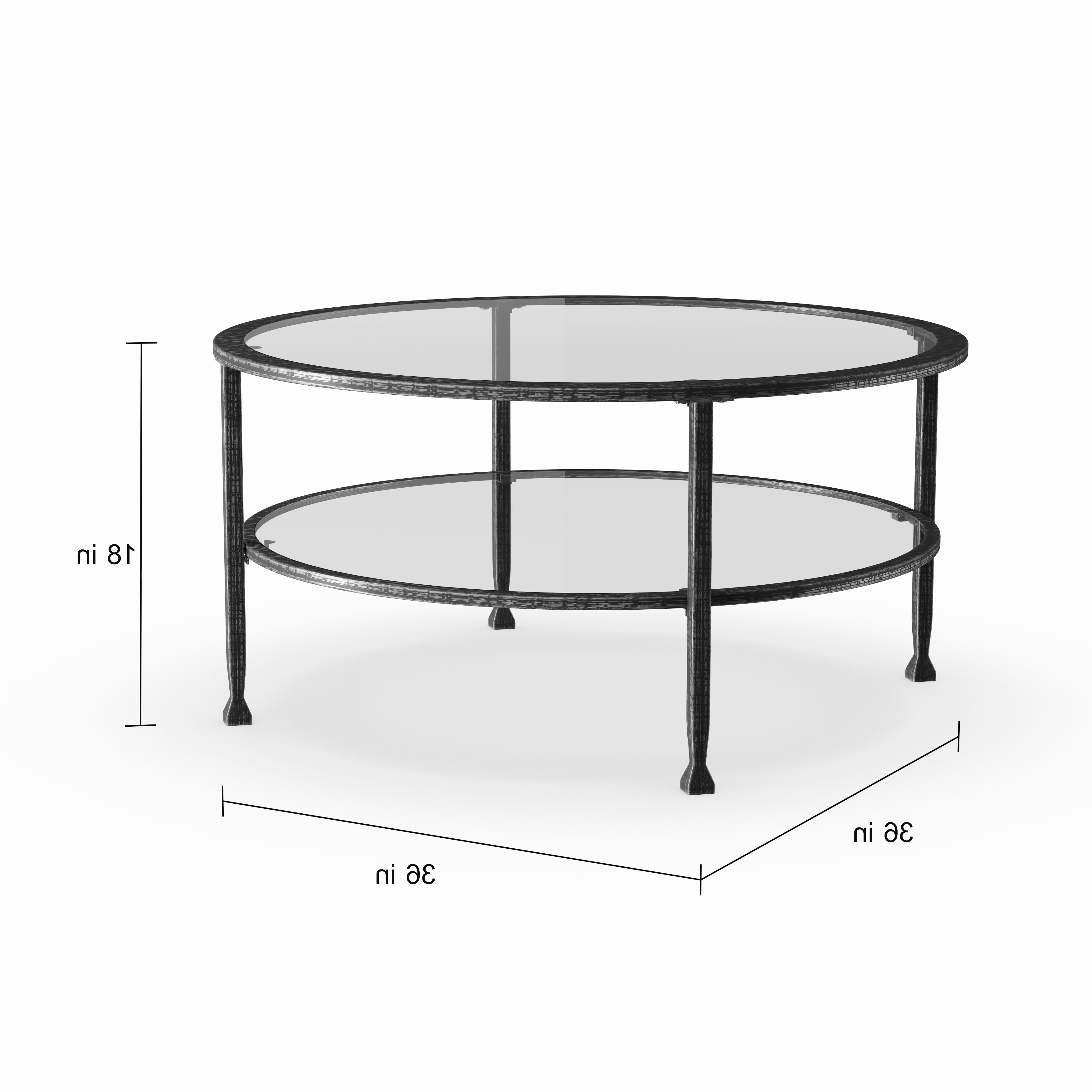 Carbon Loft Glenn Metal/ Glass Round Cocktail Table Regarding 2020 Carbon Loft Heimlich Metal Glass Rectangle Coffee Tables (View 2 of 20)