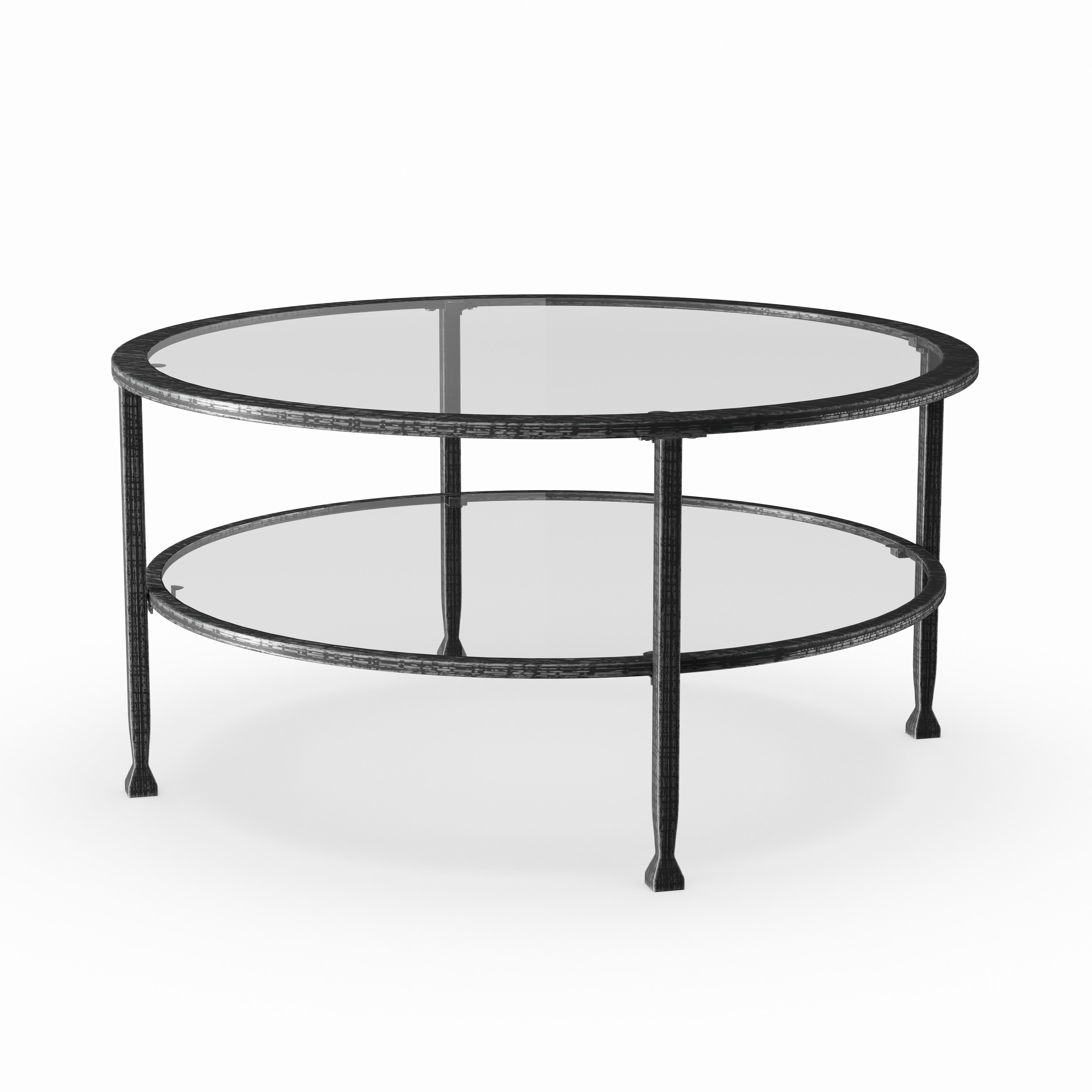 Carbon Loft Glenn Metal/ Glass Round Cocktail Table With Most Recently Released Carbon Loft Heimlich Metal Glass Rectangle Coffee Tables (View 3 of 20)