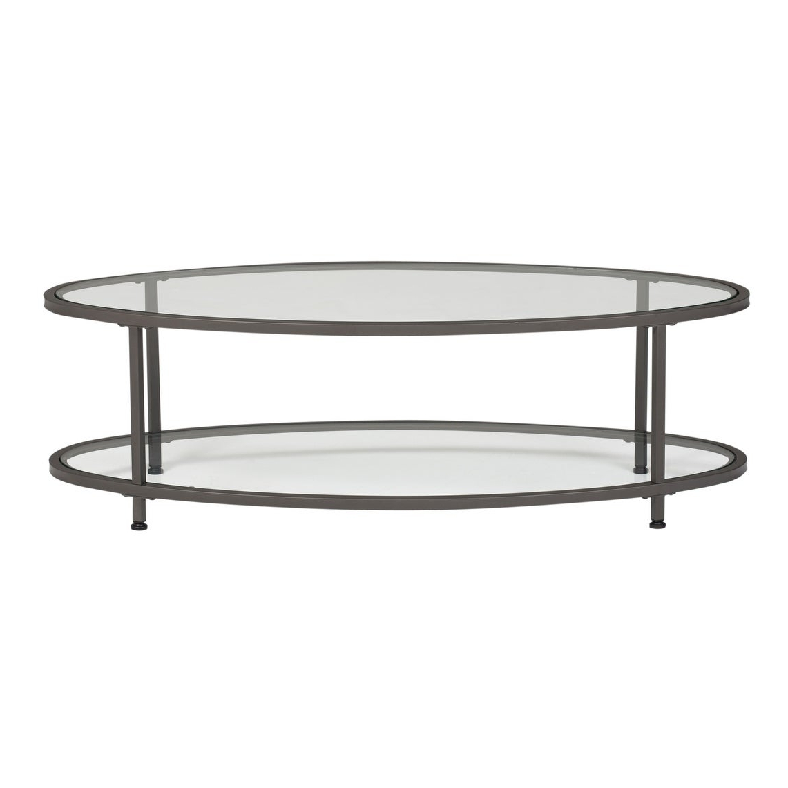 """Carbon Loft Heimlich 48"""" Oval Coffee Table Throughout Fashionable Carbon Loft Heimlich Pewter Steel/glass Round Coffee Tables (View 4 of 20)"""