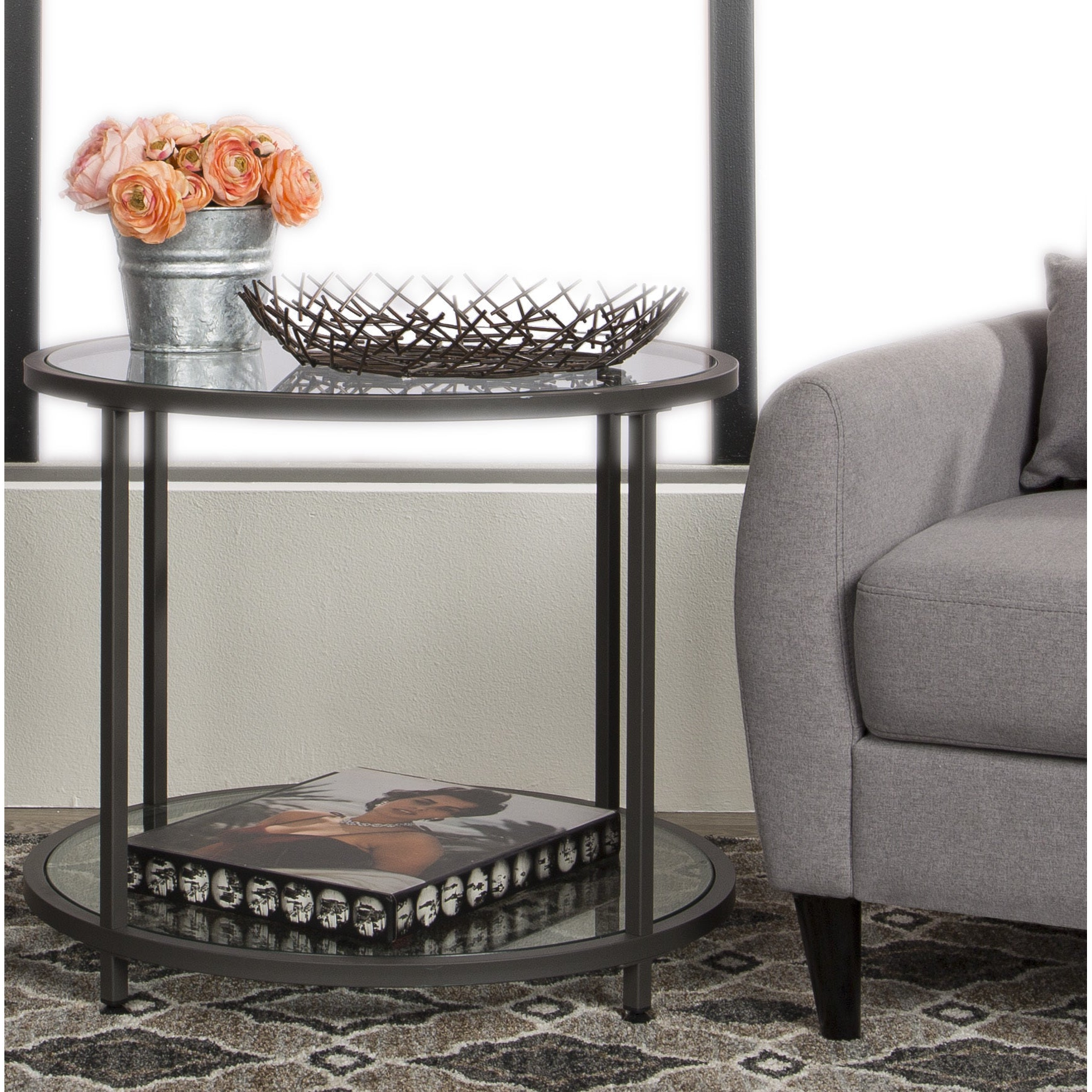 Carbon Loft Heimlich Pewter Metal Round Side Table With Regard To Newest Carbon Loft Heimlich Pewter Steel/glass Round Coffee Tables (View 8 of 20)
