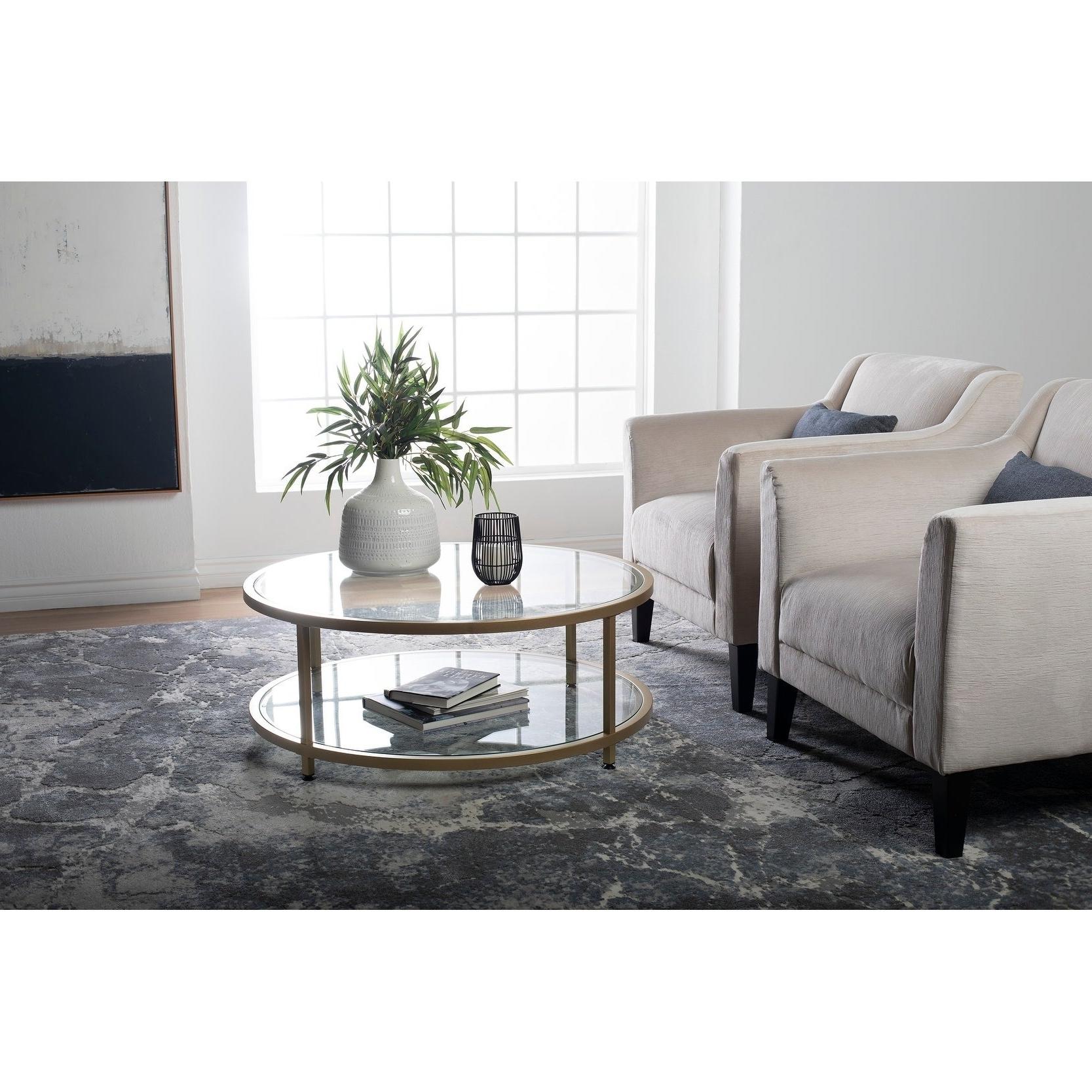 Carbon Loft Heimlich Pewter Steel/glass Round Coffee Table For Well Liked Carbon Loft Heimlich Pewter Steel/glass Round Coffee Tables (View 9 of 20)