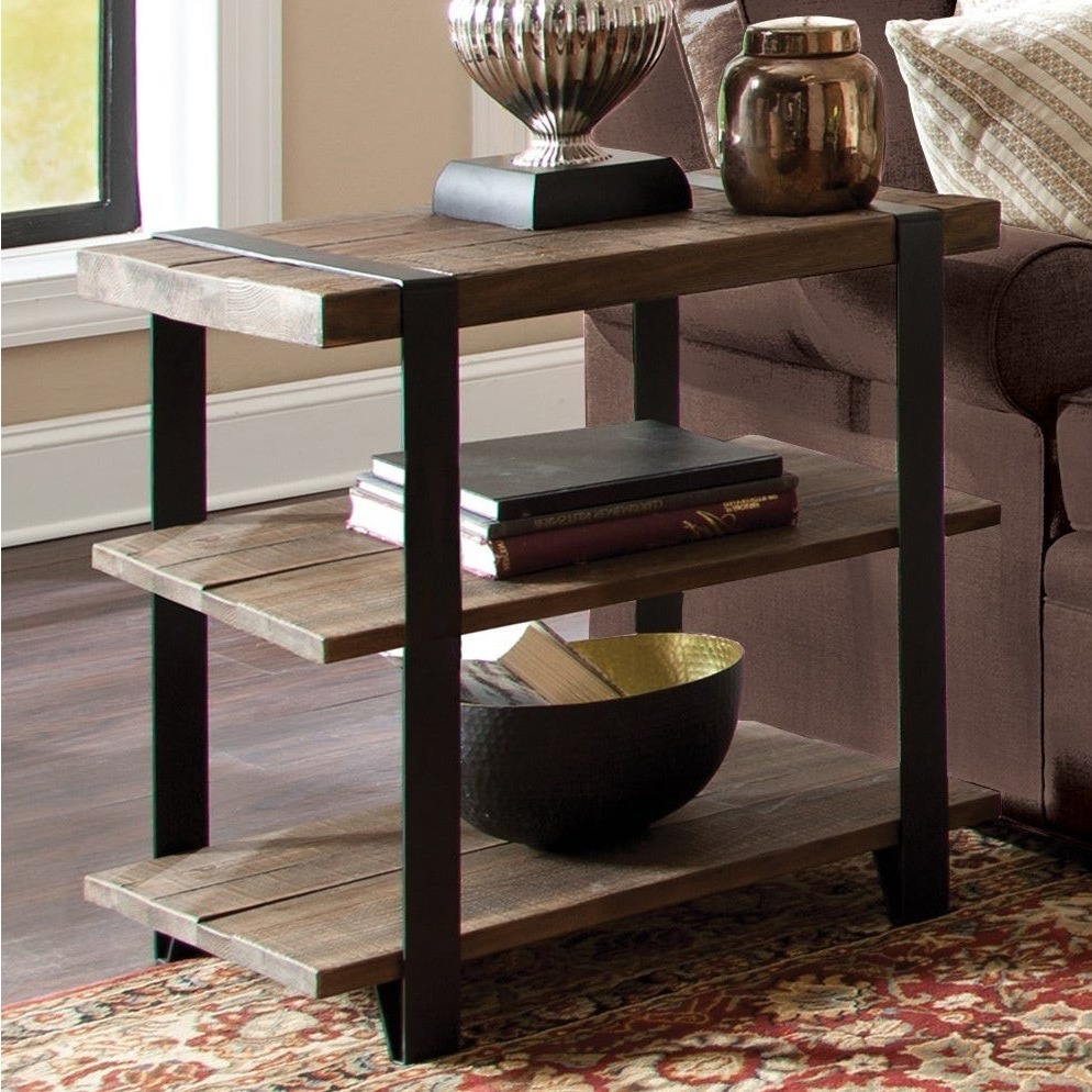 Carbon Loft Kenyon Natural Metal Strap And Reclaimed Wood 2 Tier End Table Intended For Favorite Carbon Loft Lawrence Metal And Reclaimed Wood Coffee Tables (View 2 of 20)