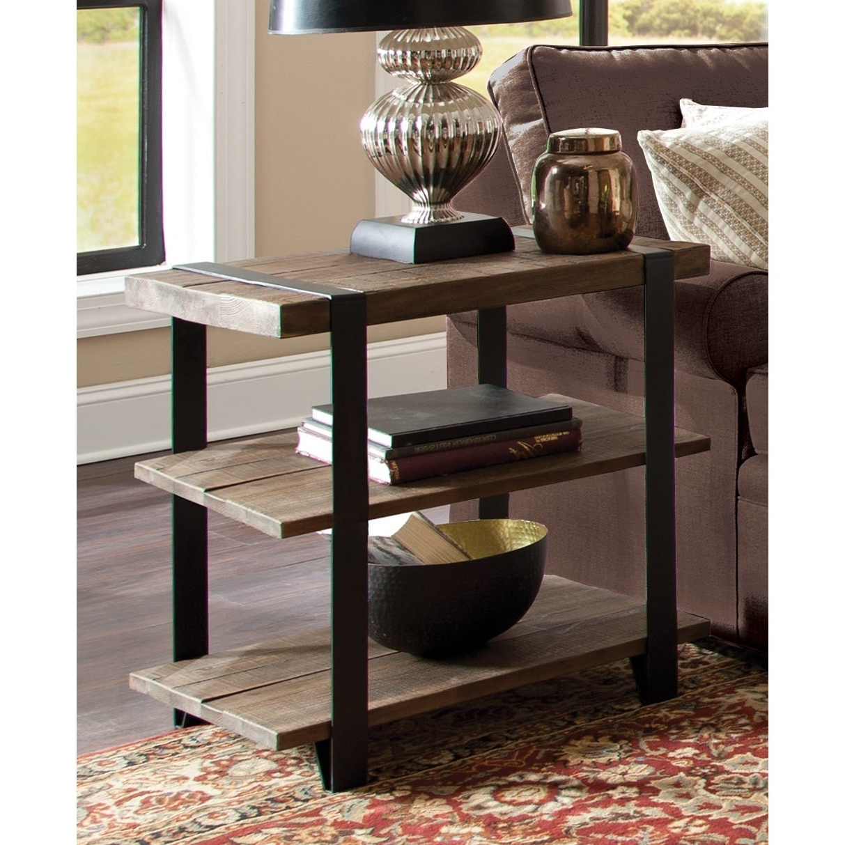 Carbon Loft Kenyon Natural Metal Strap And Reclaimed Wood 2 Tier End Table Regarding Current Carbon Loft Kenyon Natural Rustic Coffee Tables (View 8 of 20)