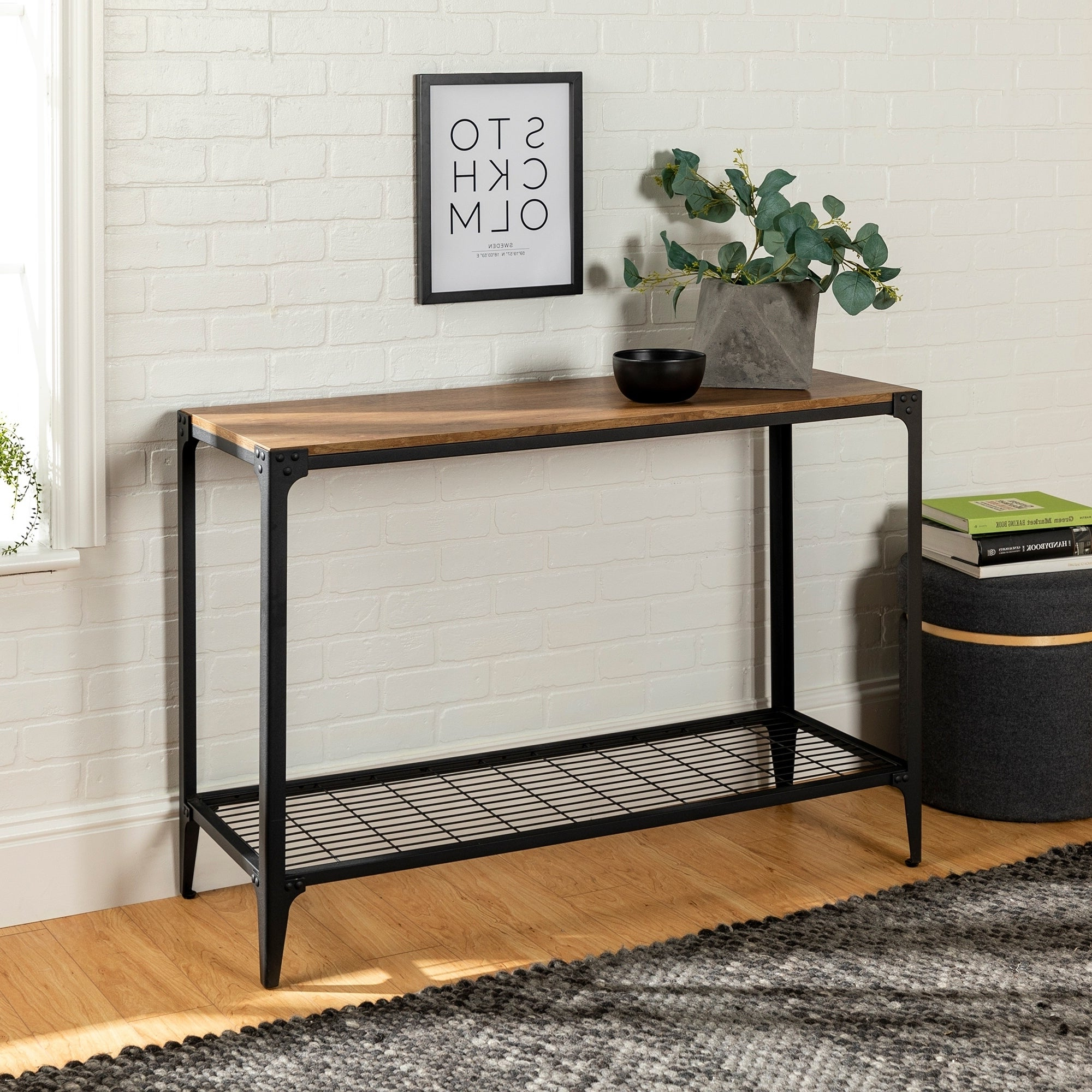 Carbon Loft Witten Angle Iron And Barnwood Entry Table – 44 X 16 X 30H Throughout Widely Used Carbon Loft Witten Angle Iron And Driftwood Coffee Tables (View 3 of 20)