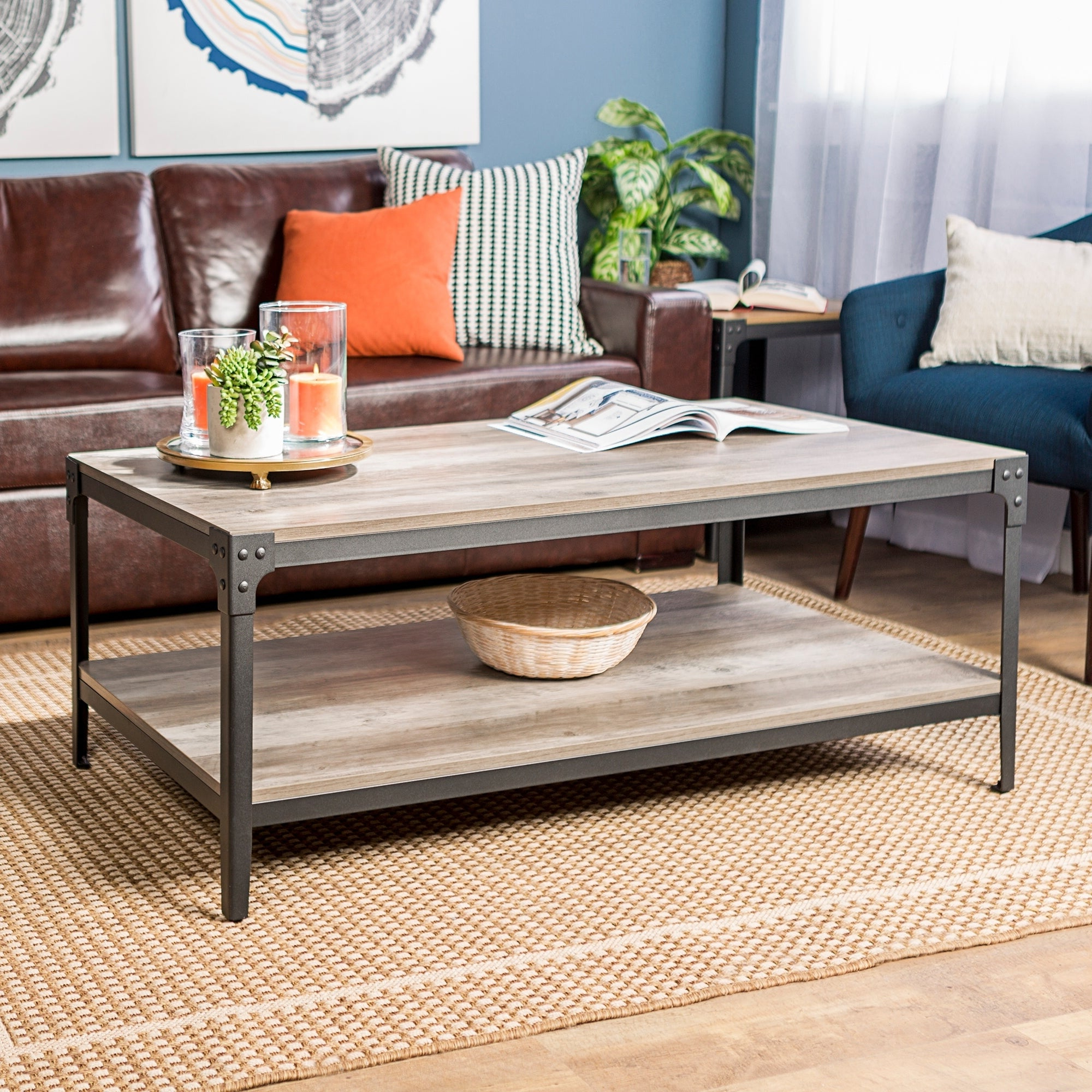 Carbon Loft Witten Angle Iron Coffee Table – 48 X 24 X 18H Pertaining To Current Carbon Loft Witten Angle Iron And Driftwood Coffee Tables (View 6 of 20)