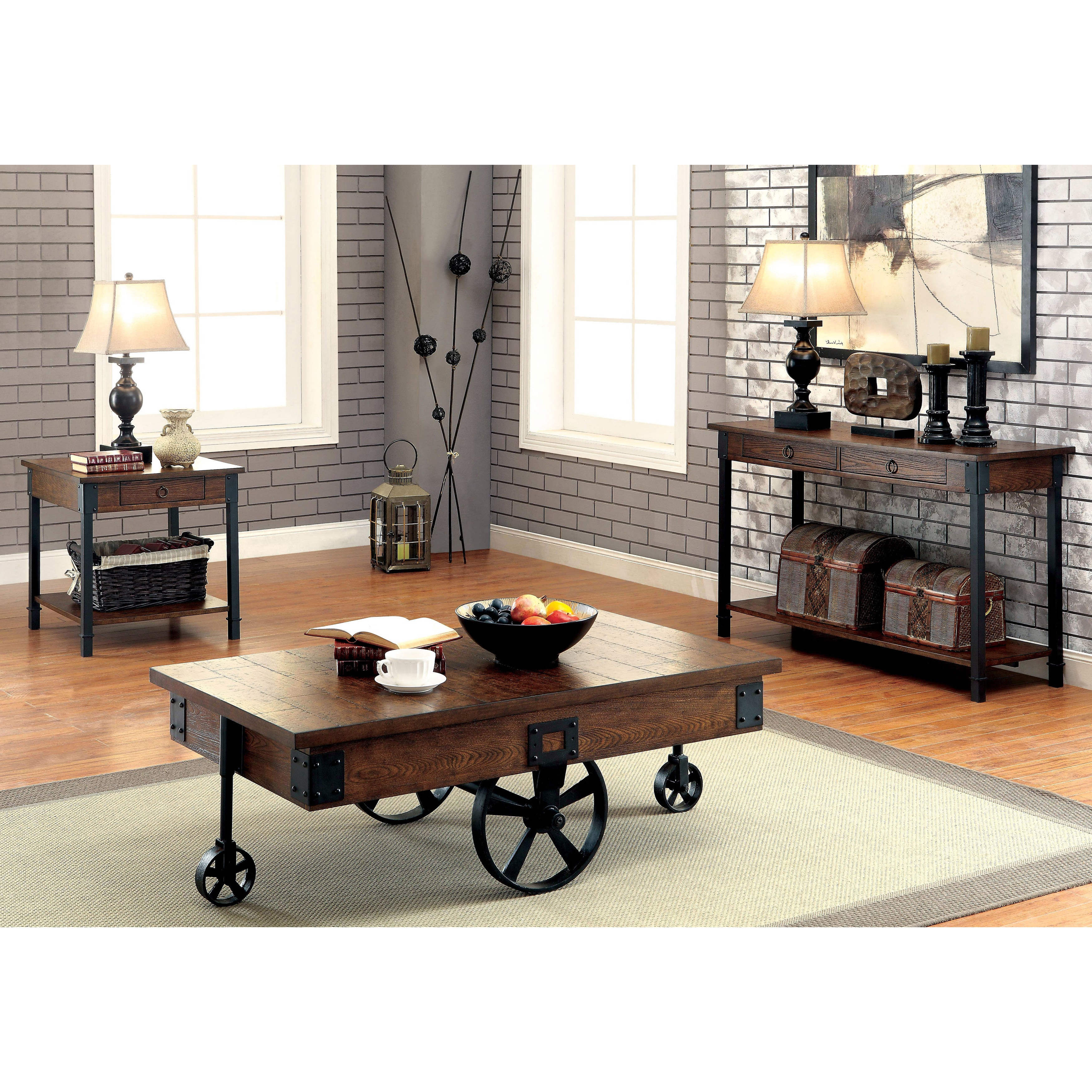 Carpenter Rustic Weathered Oak Caster Wheel Coffee Tablefoa In Most Popular Furniture Of America Charlotte Weathered Oak Glass Top Coffee Tables (View 6 of 20)