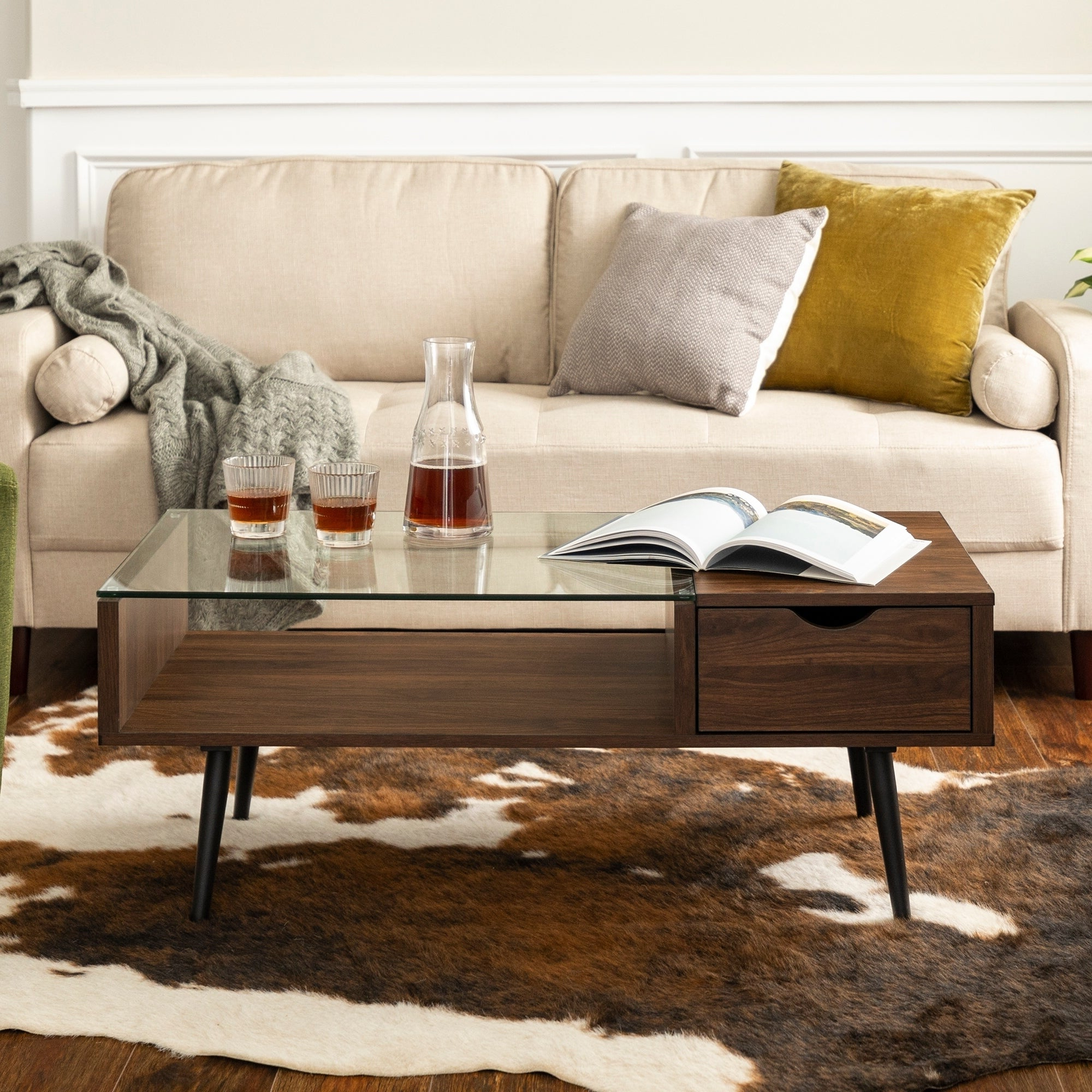 Carson Carrington Saltaro 42 Inch Mid Century Glass Top Coffee Table – 42 X  22 X 18H With Widely Used Carson Carrington Astro Mid Century Coffee Tables (View 9 of 20)