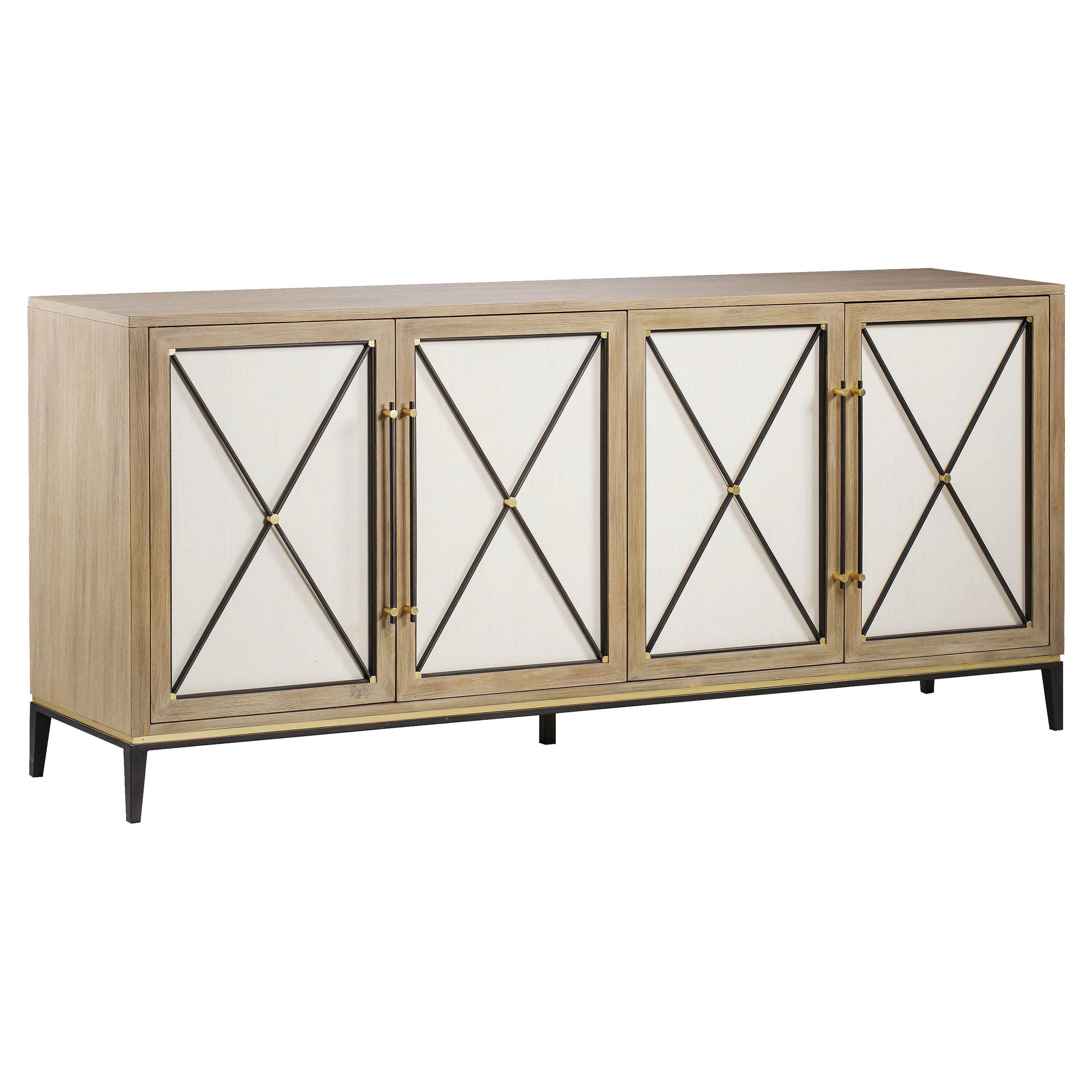Carson Credenza Modern Oak 4 White Door Buffet Sideboard With Ethelinda Media Credenzas (View 5 of 20)