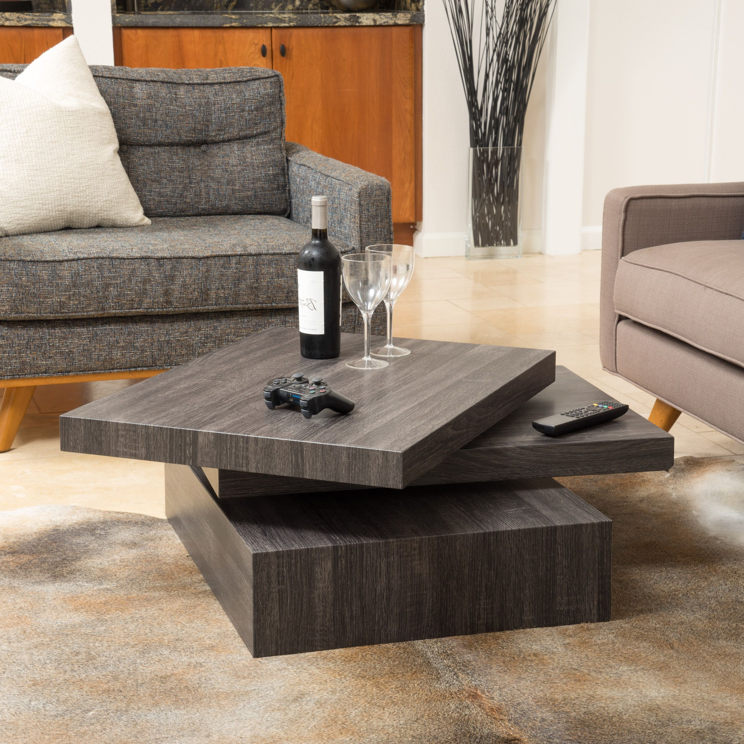 Carson Rotating Wood Coffee Tablechristopher Knight Home Inside Well Known Safavieh Anwen Geometric Wood Coffee Tables (View 14 of 20)