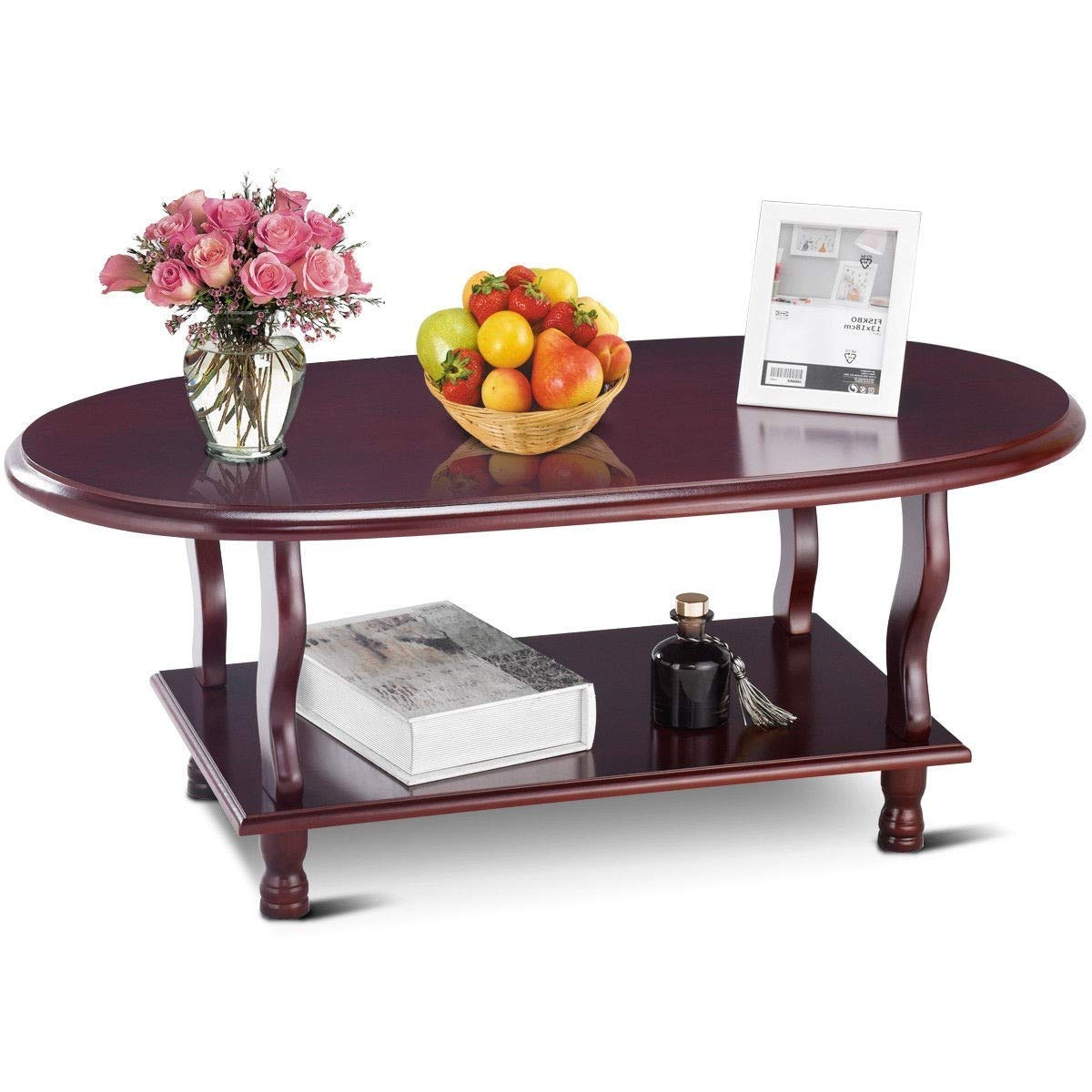Cheap Oval Cherry Coffee Table, Find Oval Cherry Coffee Throughout Well Known Furniture Of America Crescent Dark Cherry Glass Top Oval Coffee Tables (View 4 of 20)