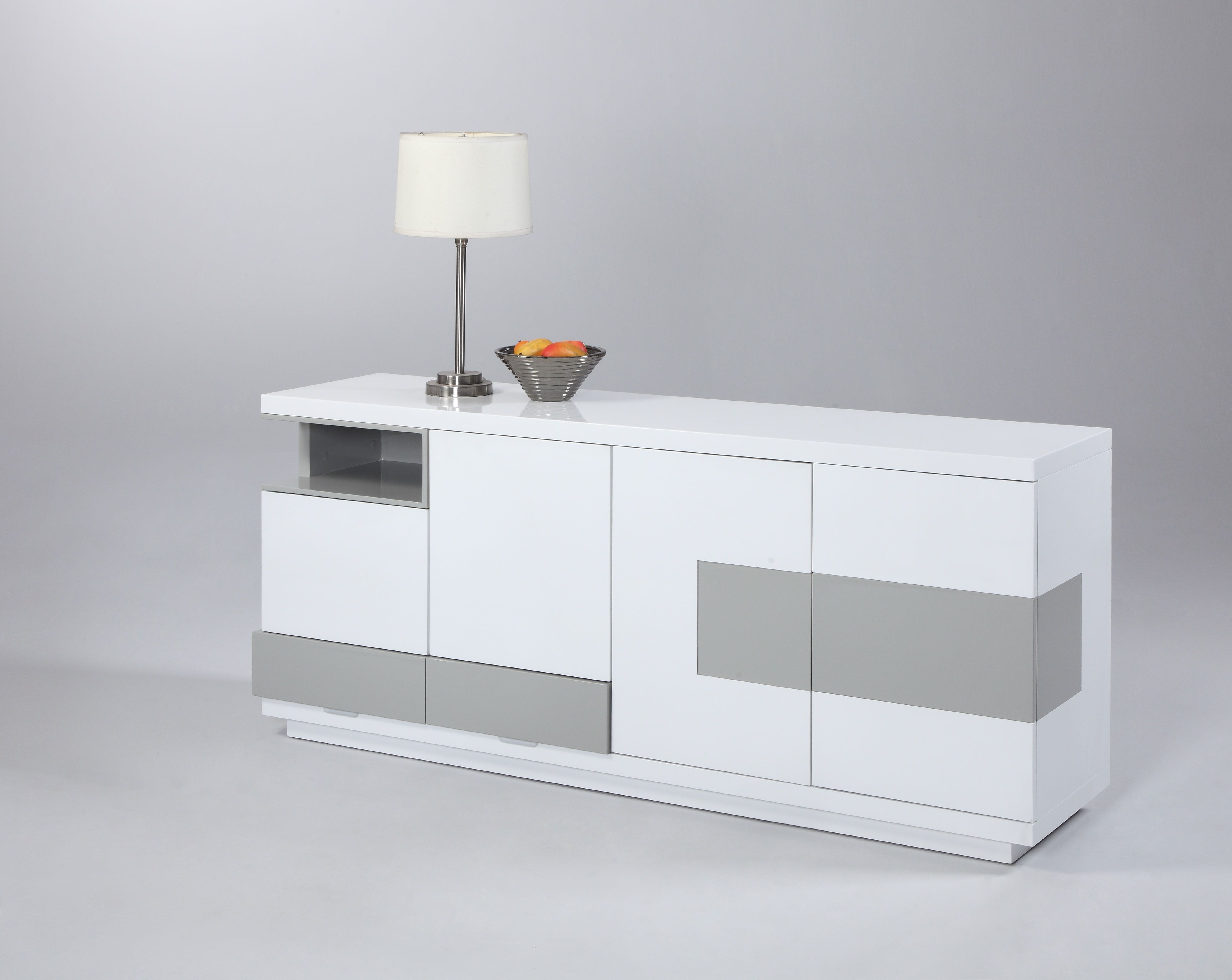 Chintaly Gina Contemporary 2 Tone Buffet With Open Storage Regarding Thite Sideboards (View 1 of 20)