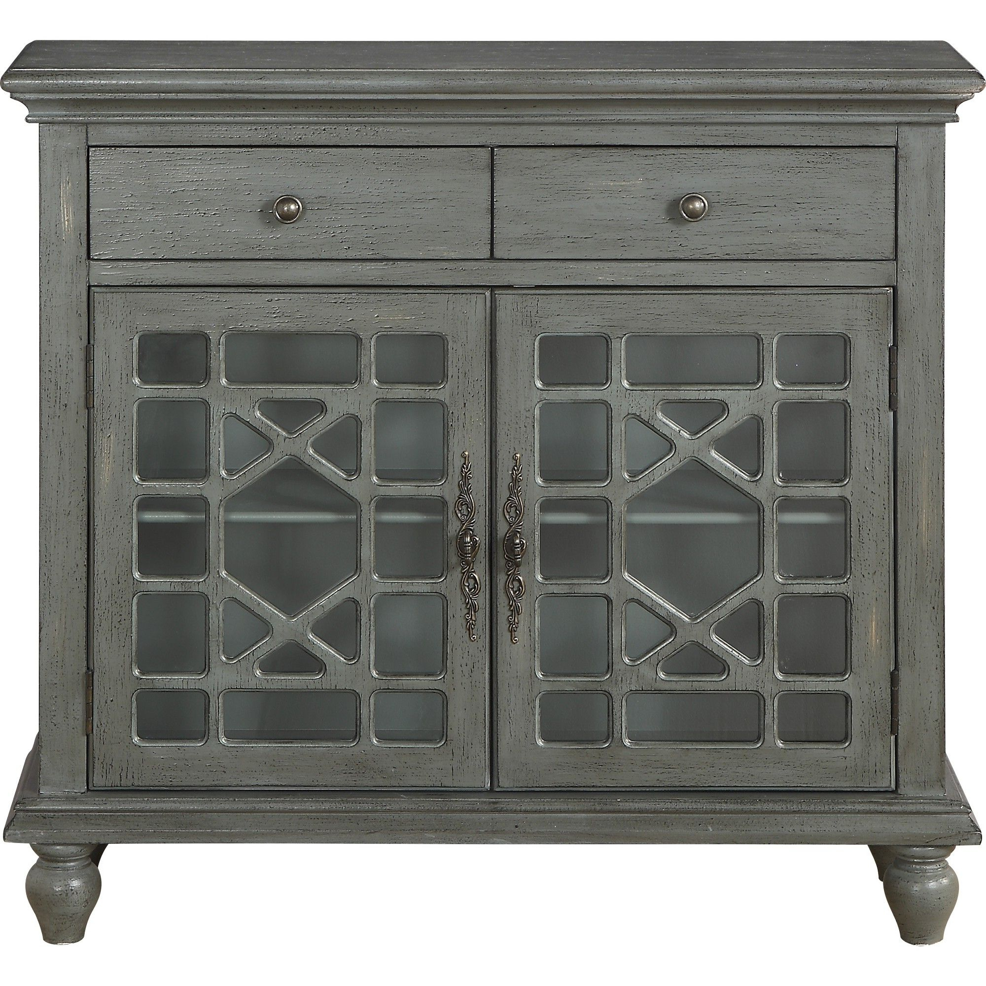Cimmeron 2 Drawer 2 Door Cupboard Gray – Treasure Trove Regarding Raunds Sideboards (View 3 of 20)