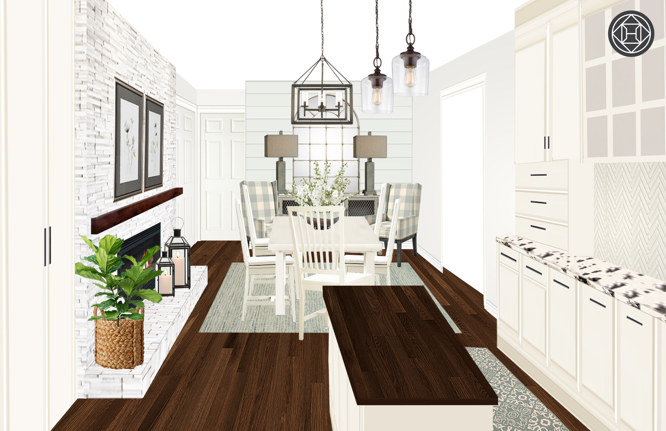 Classic, Farmhouse Dining Room Designhavenly Interior Intended For Fugate 2 Door Credenzas (View 14 of 20)