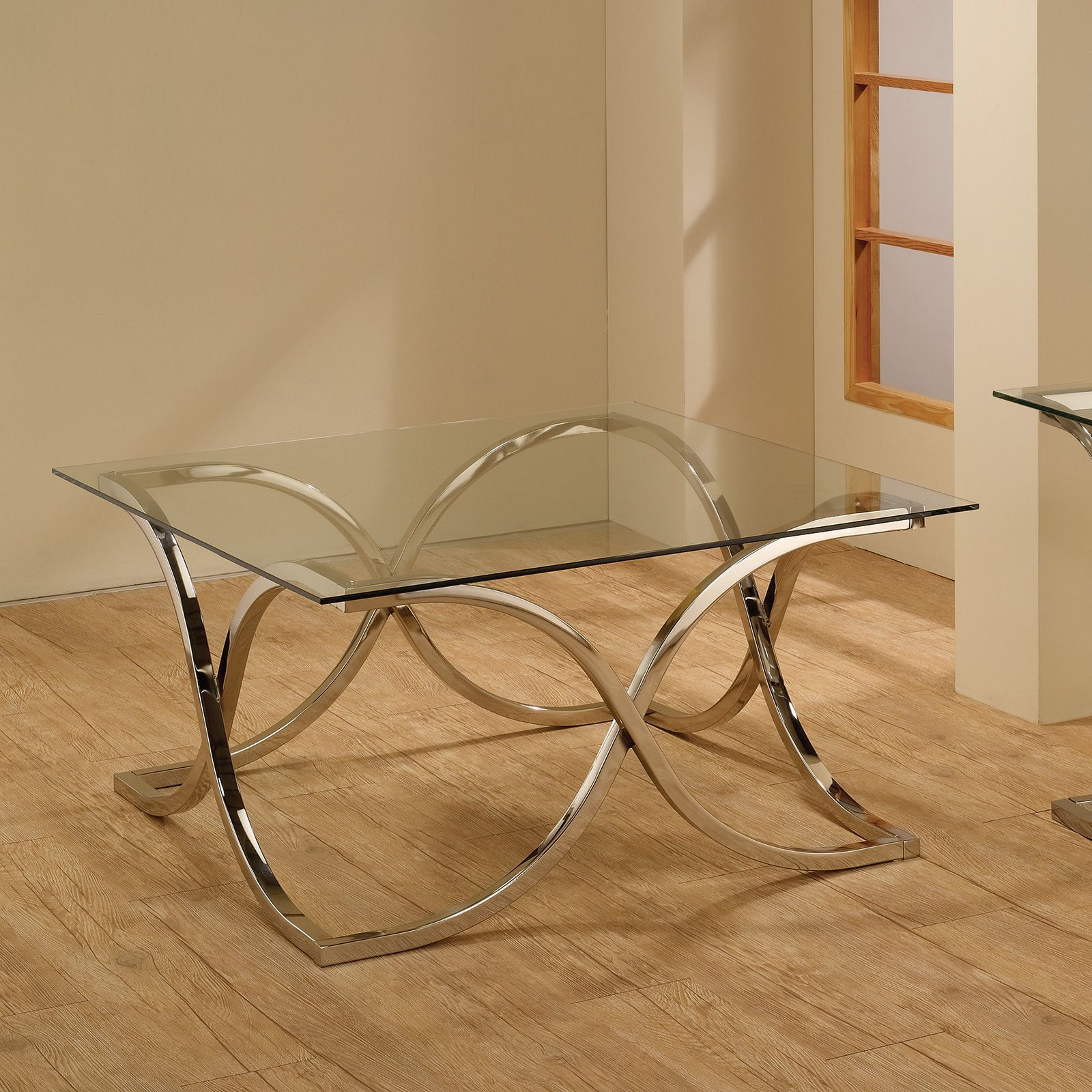 Coaster Company Chrome Tempered Glass Coffee Table (chrome Regarding 2020 Coaster Company Silver Glass Coffee Tables (View 5 of 20)