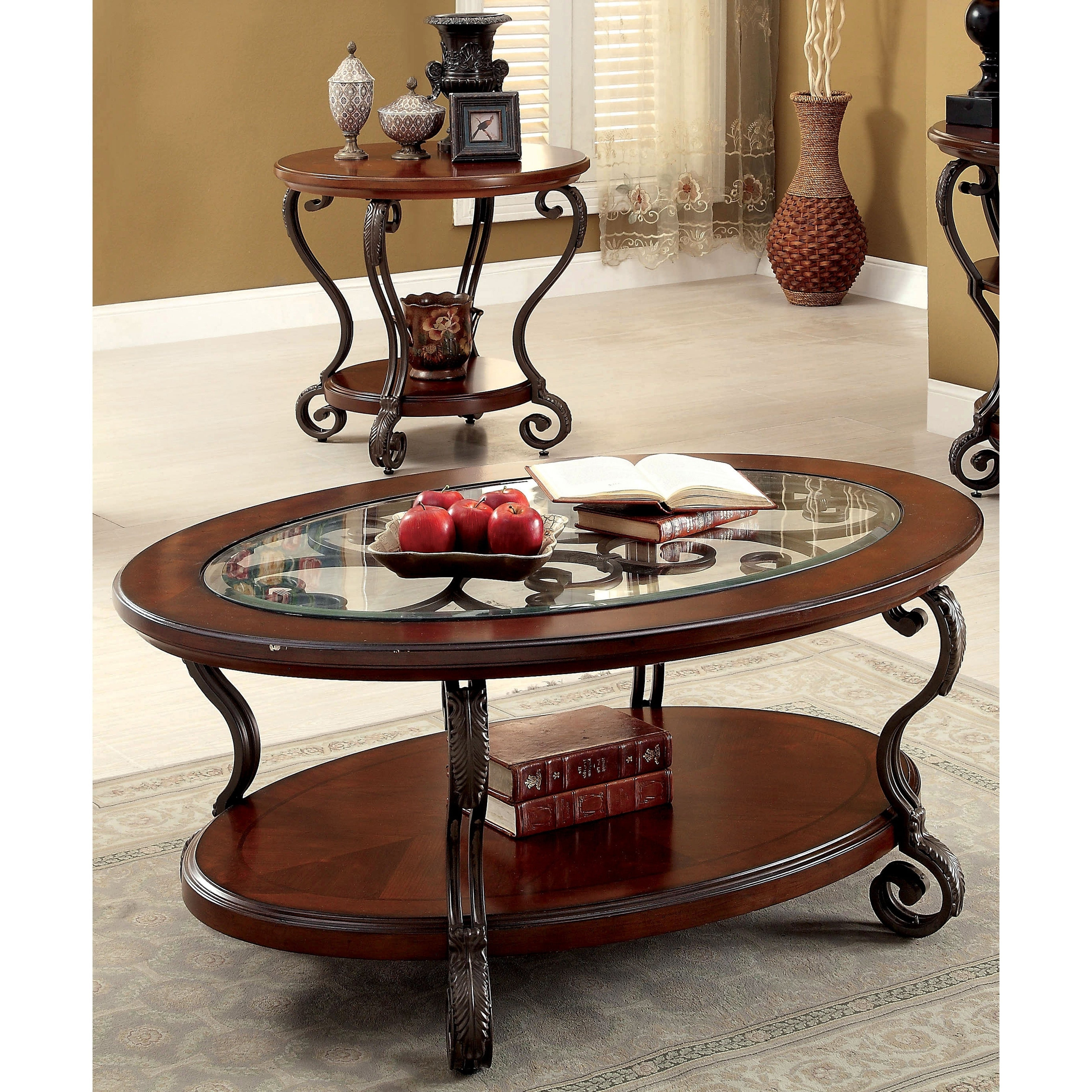 Cohler Traditional Brown Cherry 2 Piece Coffee Table Setfoa With 2019 Cohler Traditional Brown Cherry Oval Coffee Tables (View 4 of 20)