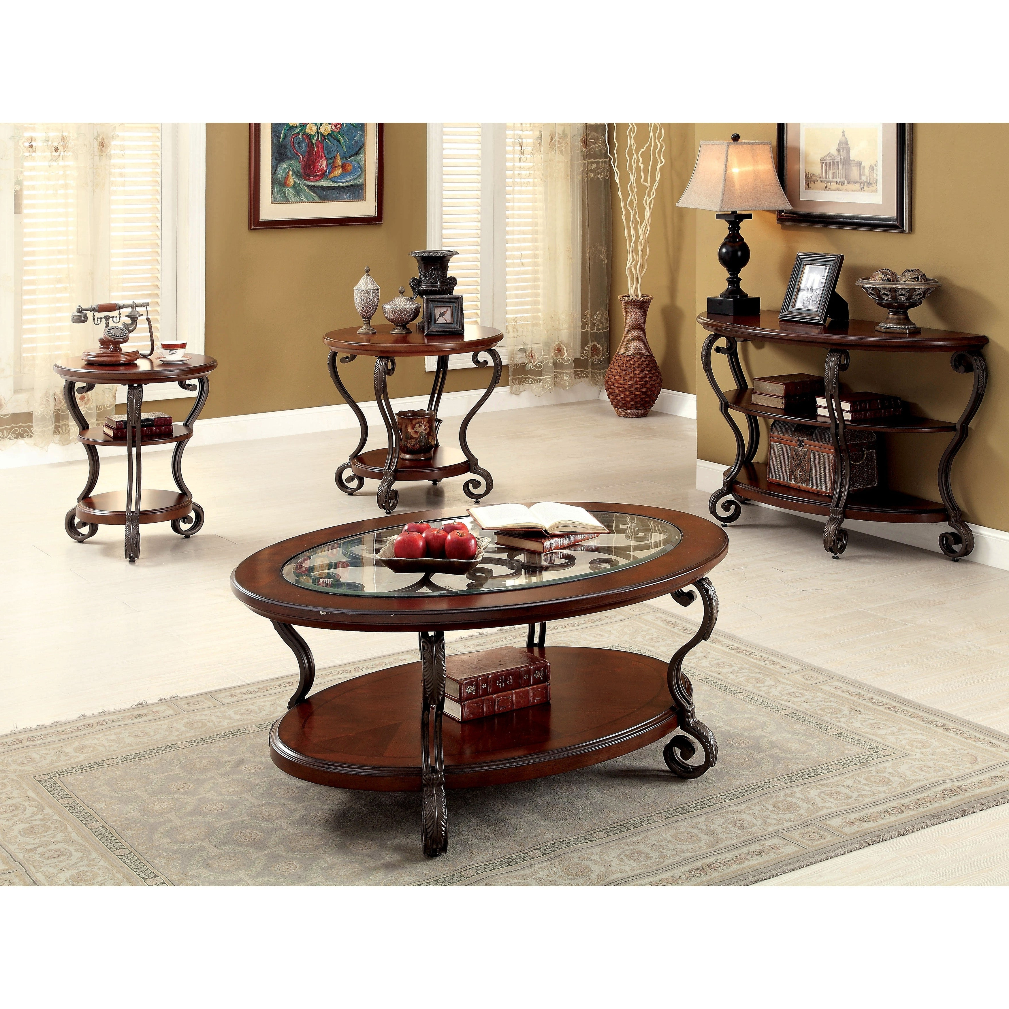 Cohler Transitional Brown Cherry 4 Piece Coffee Table Setfoa Pertaining To Recent Cohler Traditional Brown Cherry Oval Coffee Tables (View 8 of 20)