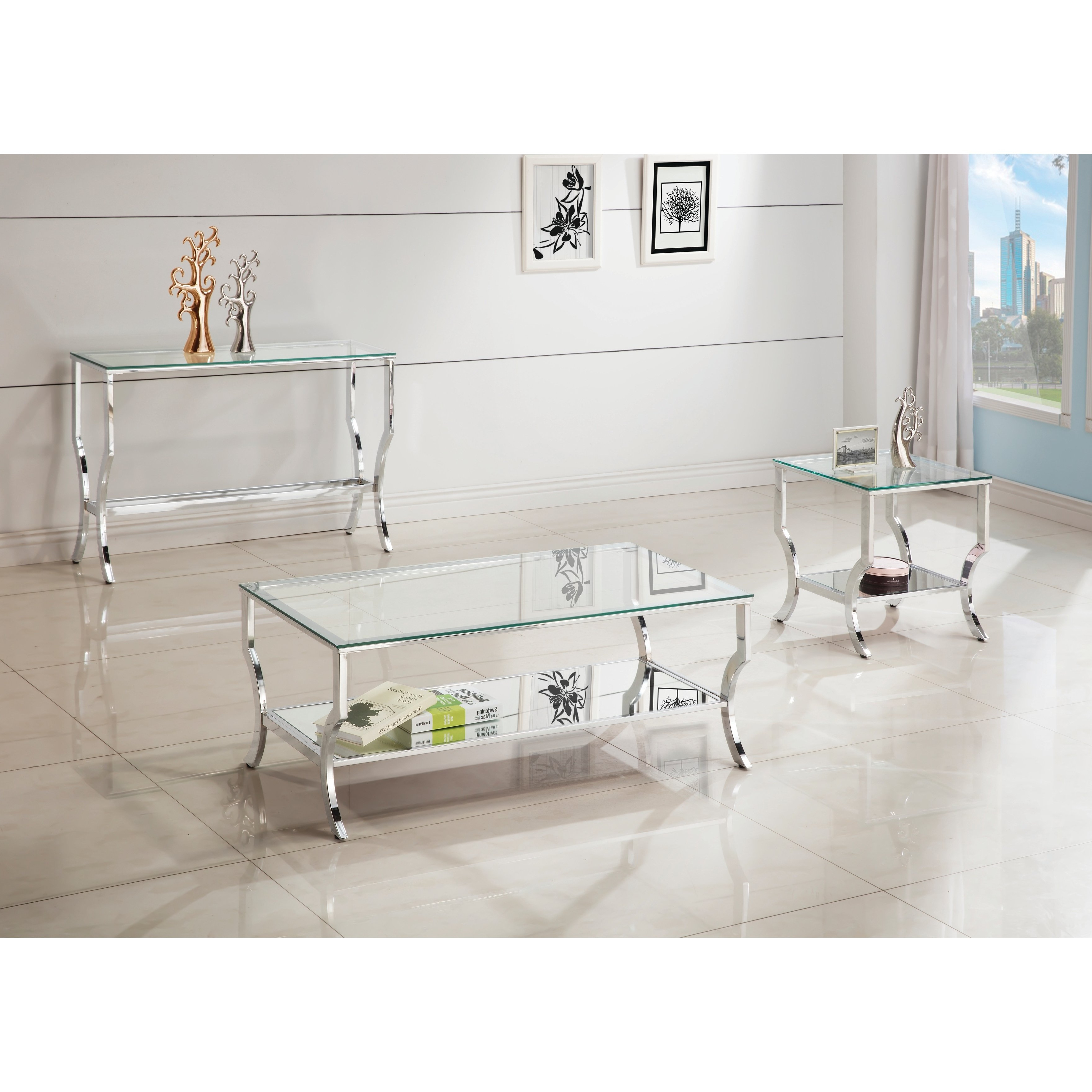 Contemporary Chrome Glass Top And Mirror Shelf Coffee Table In Recent Thalberg Contemporary Chrome Coffee Tables By Foa (View 3 of 20)