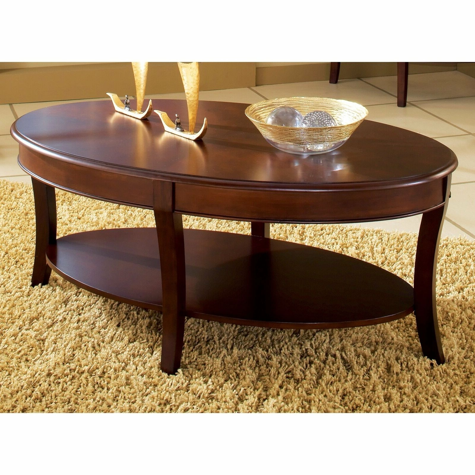Copper Grove Angelina Oval Coffee Table Brown Cherry With Best And Newest Copper Grove Liatris Black And Satin Silver Coffee Tables (View 3 of 20)