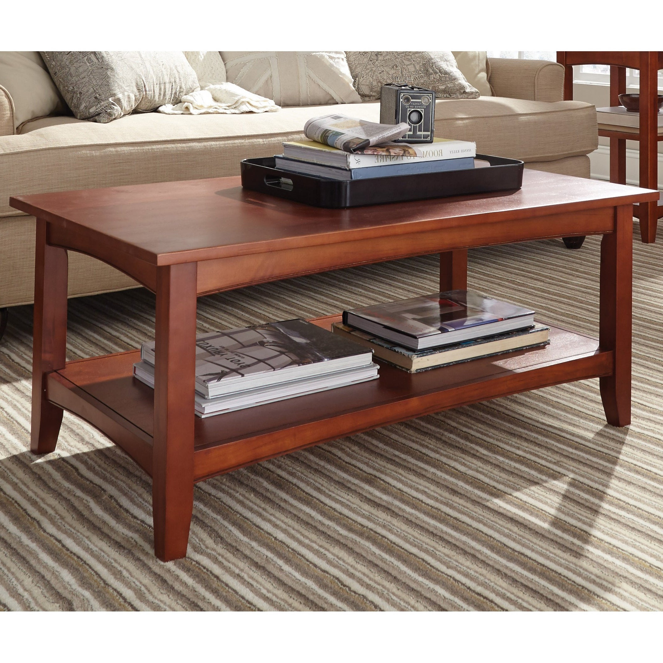Copper Grove Daintree 42 Inch Wood Coffee Table With Shelf With Regard To Recent Copper Grove Bowron Dark Cherry Coffee Tables (View 9 of 20)