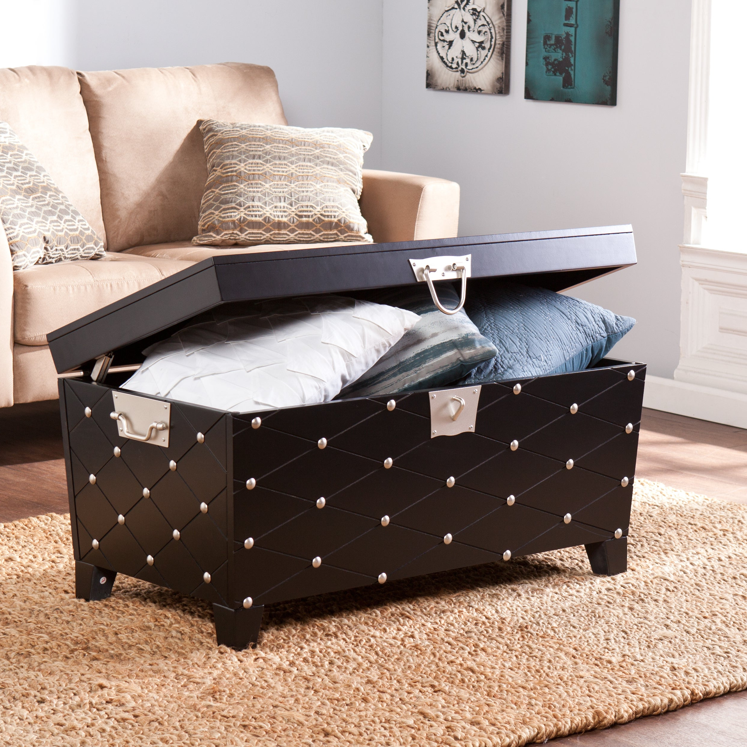 Featured Photo of Copper Grove Liatris Black And Satin Silver Coffee Tables