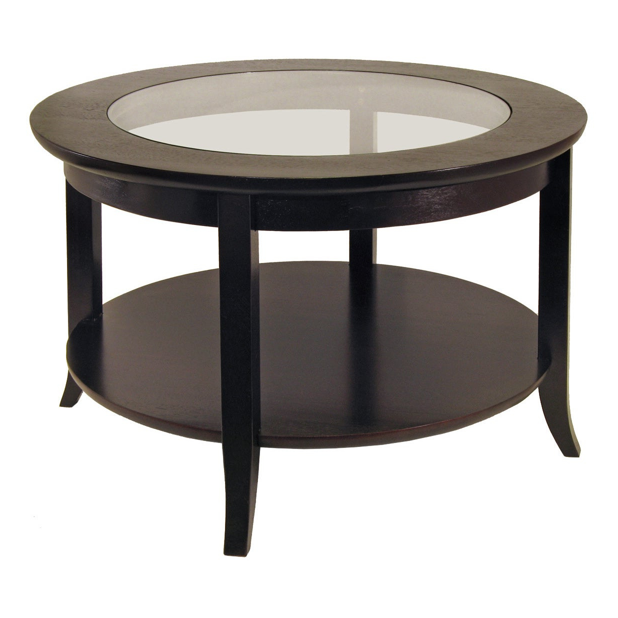 Copper Grove Shasta Trinity Wood/ Glass Inset Coffee Table With Flared Legs Inside Well Liked Copper Grove Halesia Chocolate Bronze Round Coffee Tables (View 4 of 20)