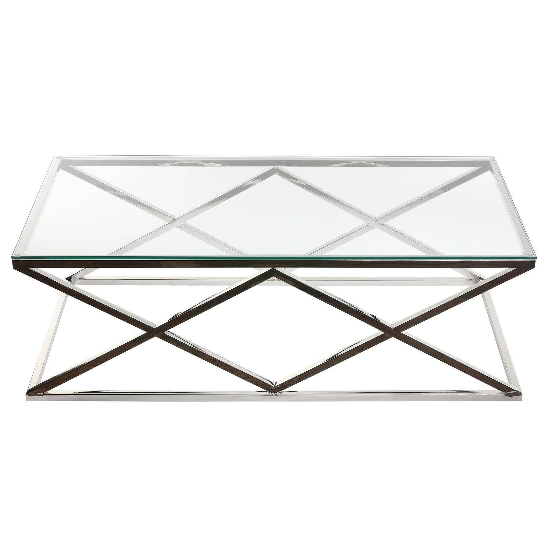 Cortesi Home Gwen Contemporary Glass Coffee Table Regarding Favorite Cortesi Home Remi Contemporary Chrome Glass Coffee Tables (View 5 of 20)
