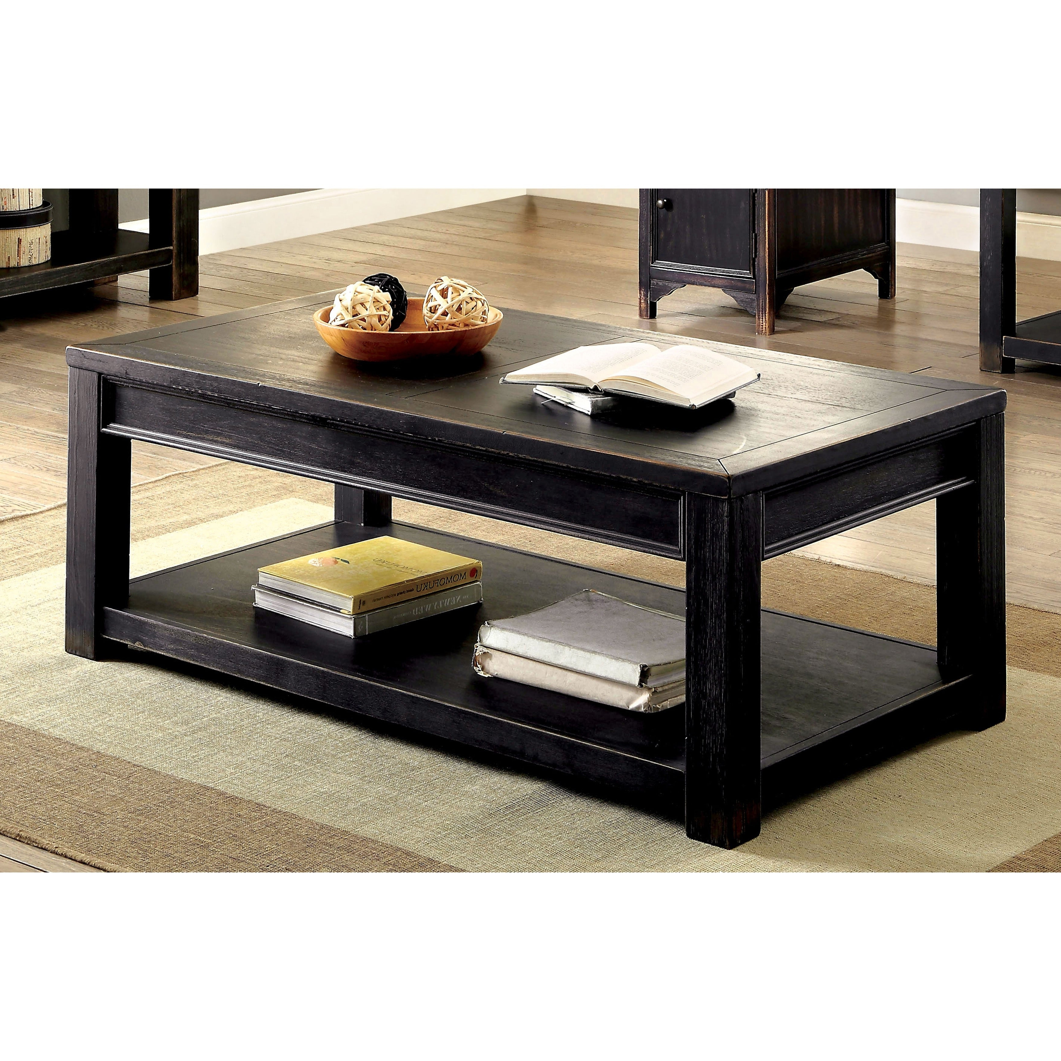 Featured Photo of Cosbin Rustic Bold Antique Black Coffee Tables