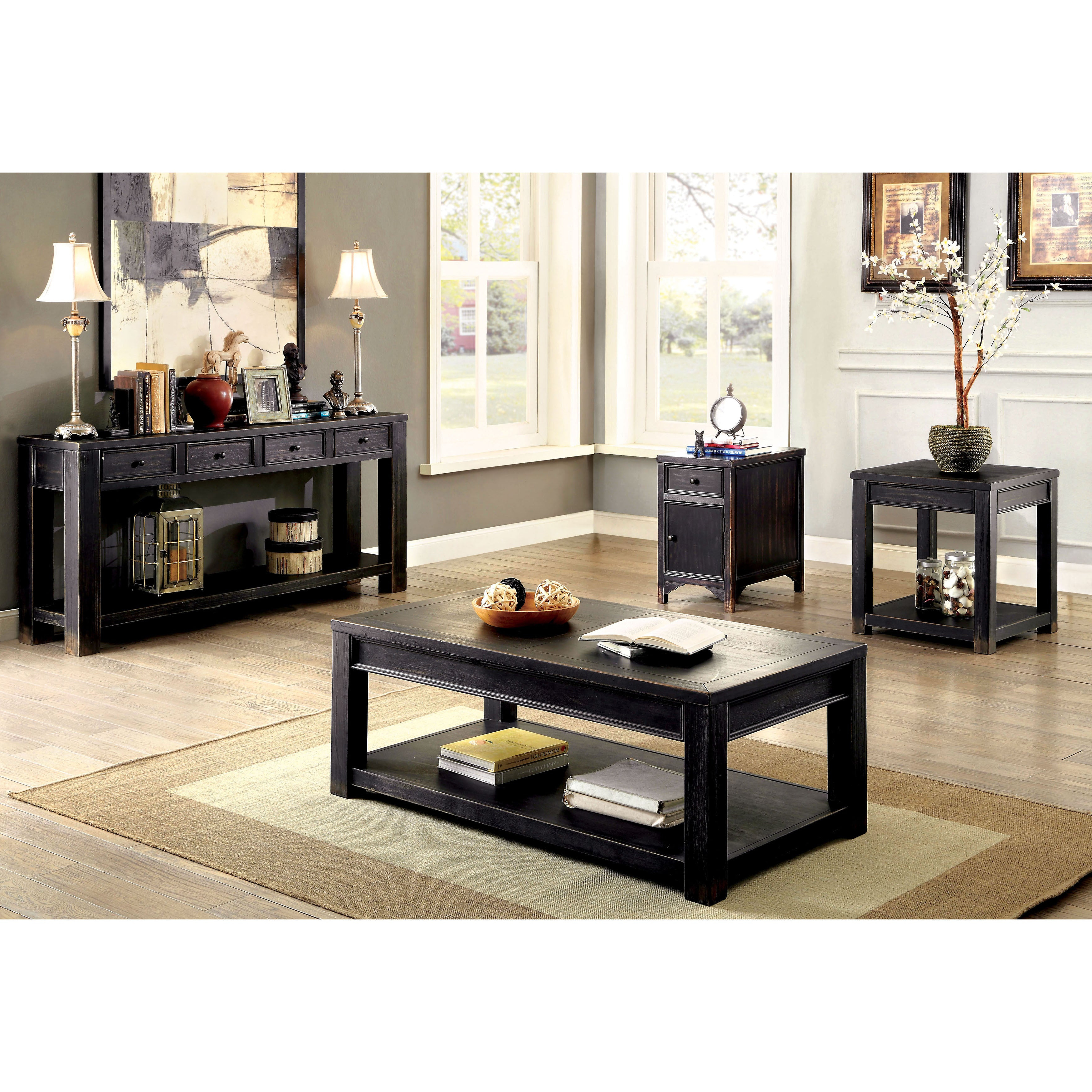 Cosbin Rustic Bold Antique Black Coffee Tablefoa Within Fashionable Cosbin Rustic Bold Antique Black Coffee Tables (View 7 of 20)