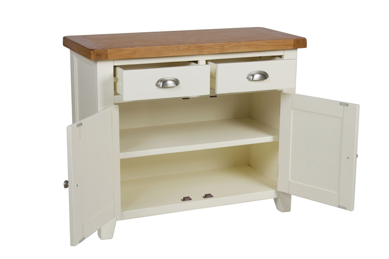 Country Cottage 100cm Cream Painted Oak Sideboard Within Rutherford Sideboards (View 18 of 20)