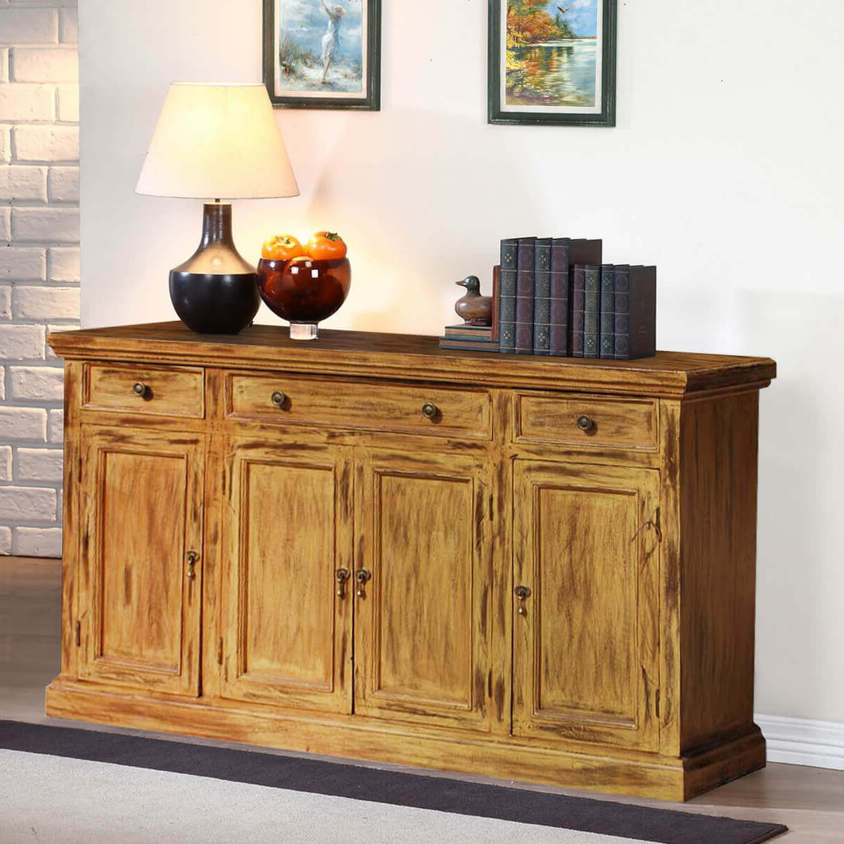 Courtdale Rustic Solid Wood 4 Door 3 Drawer Large Pertaining To Courtdale Sideboards (View 5 of 20)