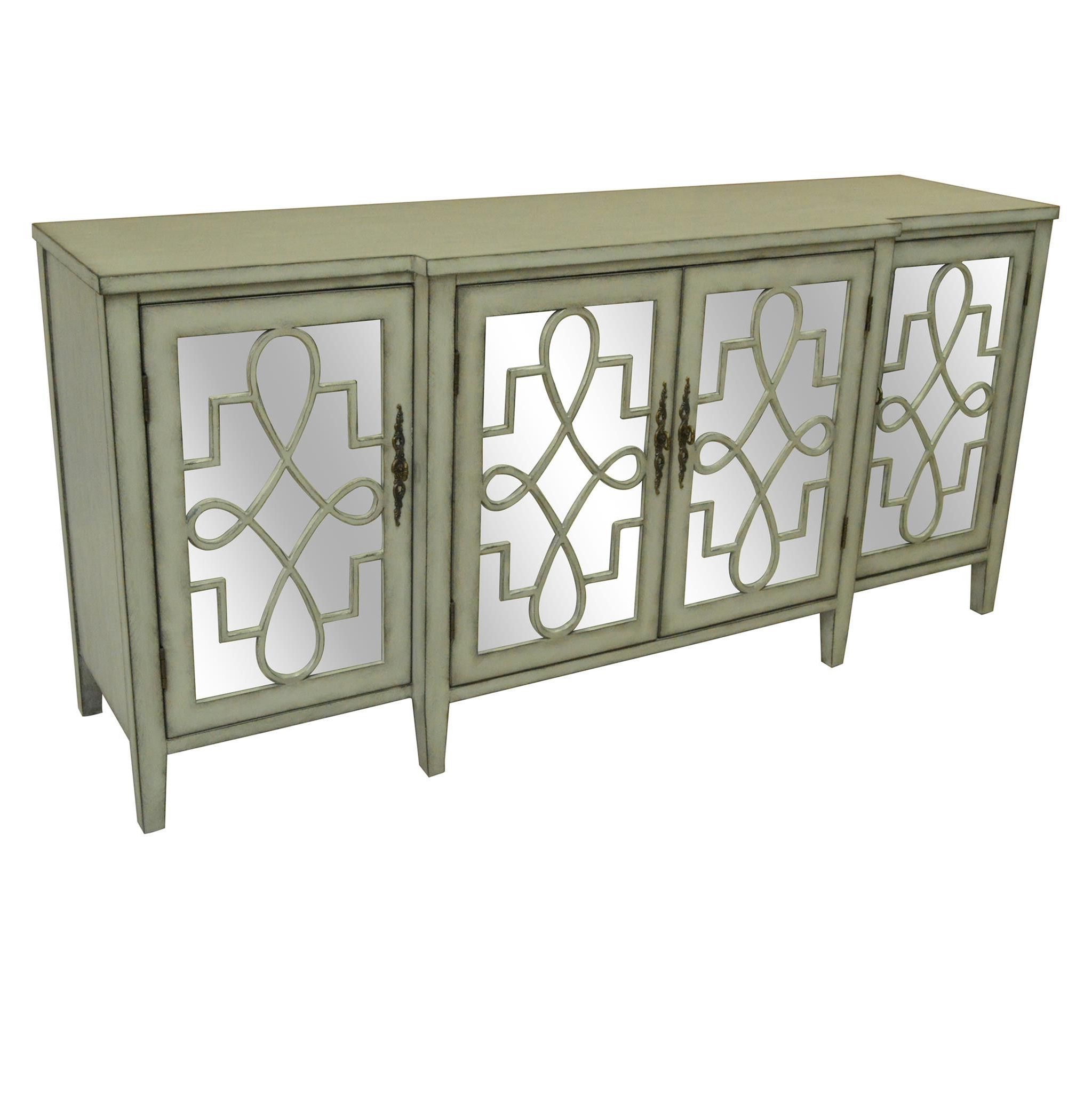 Crestview Isabelle 4 Door Breakfront Grey And Mirrored With Mauzy Sideboards (View 8 of 20)