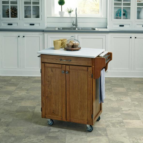 Cuisine Cart Warm Oak Kitchen Cart With Quartz Top Pertaining To Best And Newest Tiberius Door Storage Cabinet (View 4 of 20)