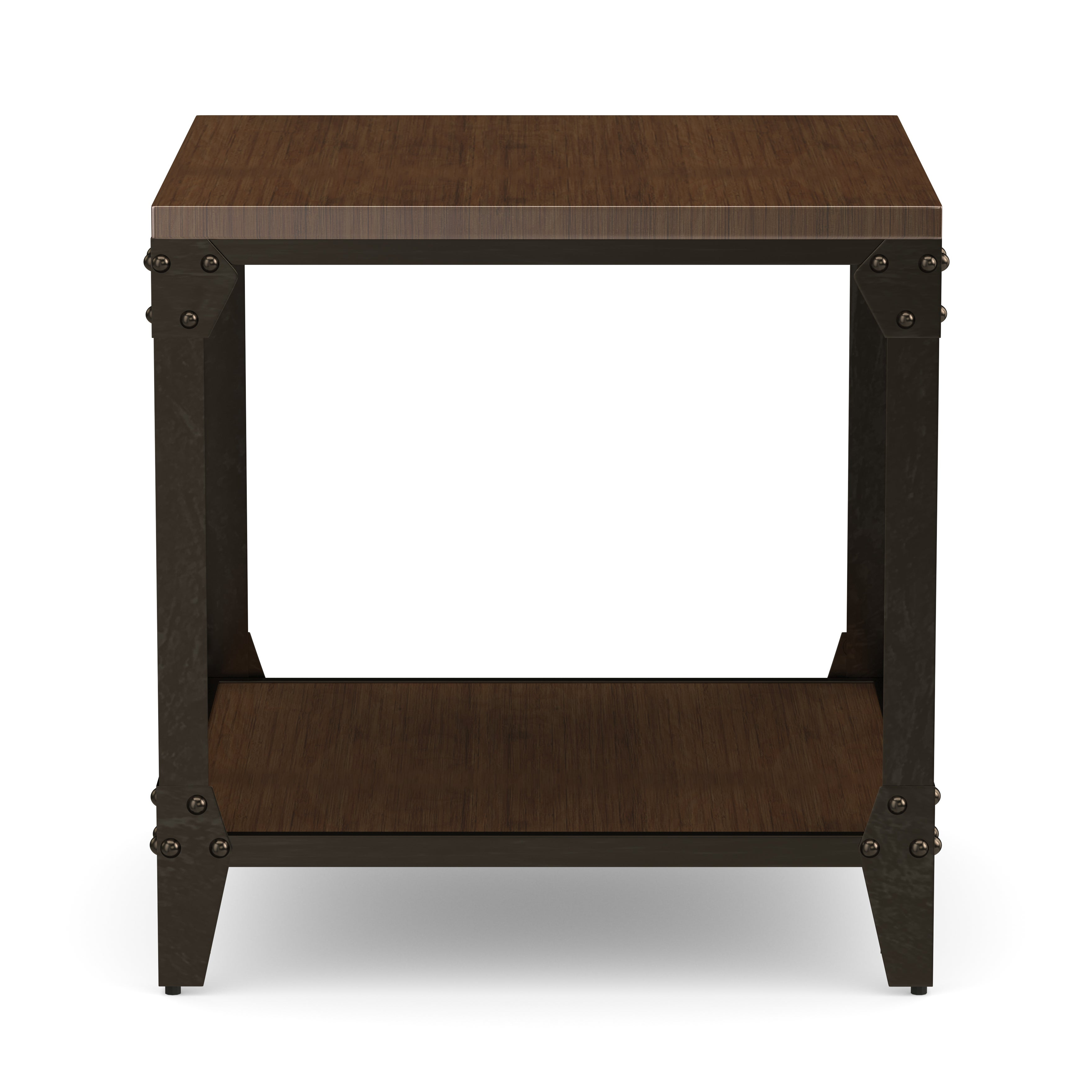 Current Carbon Loft Fischer Brown Solid Birch And Iron Rustic Coffee Tables Regarding Carbon Loft Fischer Solid Wood And Iron Rustic Square End Table (View 6 of 20)