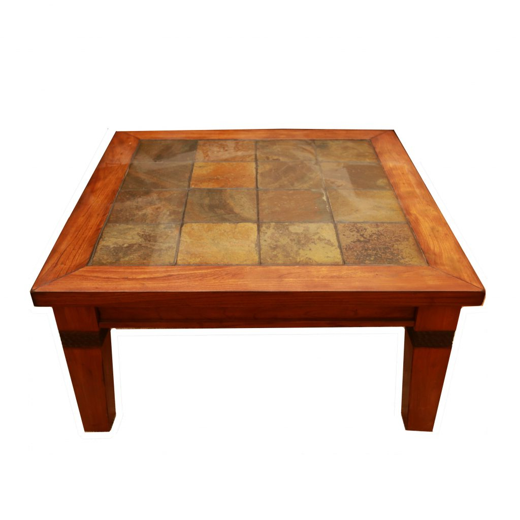 Current Copper Grove Ixia Rustic Oak And Slate Tile Coffee Tables Throughout Coffe Table ~ Slate Tile Coffee Table Modern Style With (View 6 of 20)