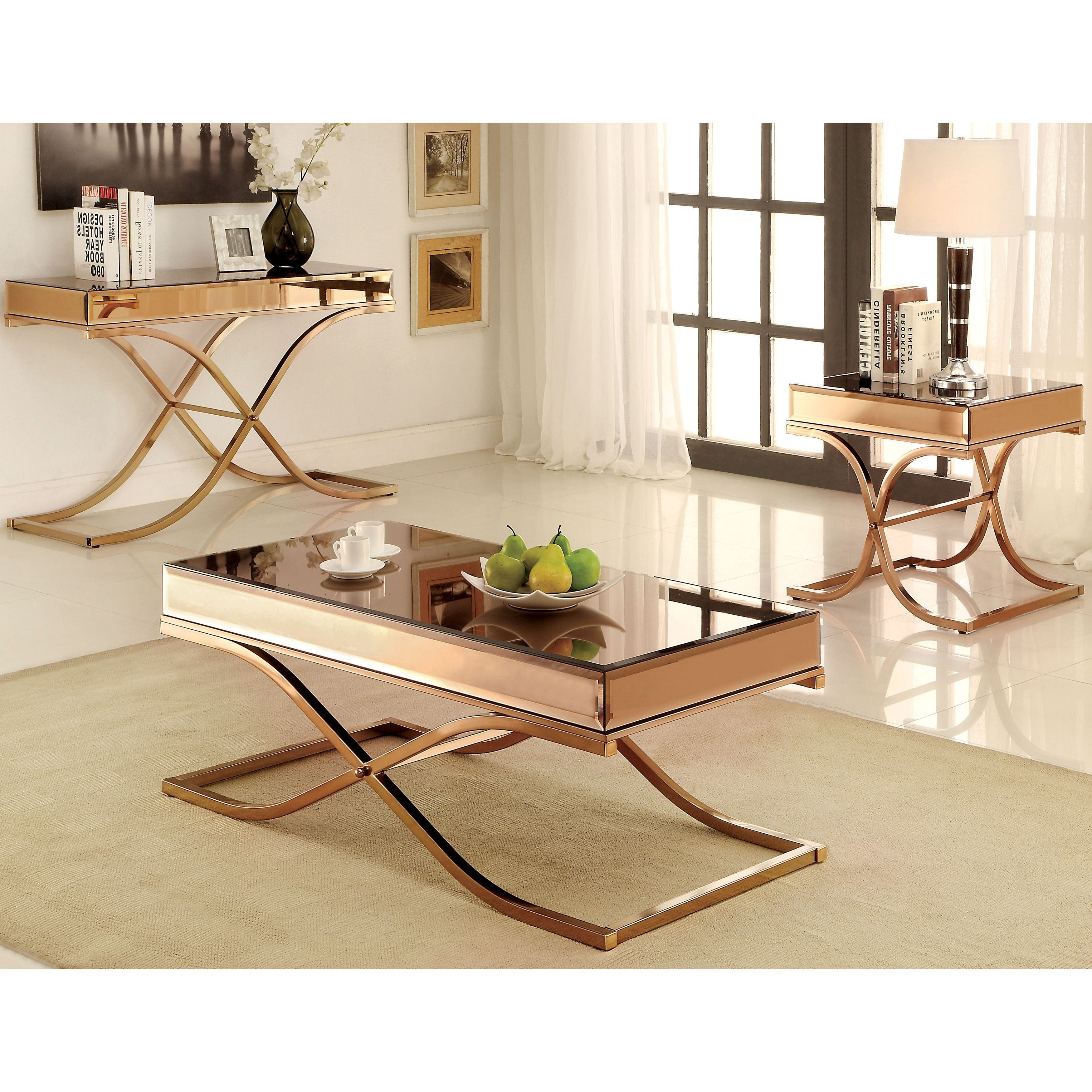 Current Furniture Of America Orelia Brass Luxury Copper Metal Coffee Tables Intended For Furniture Of America Orelia Brass Luxury Copper Metal Coffee Table (View 2 of 20)
